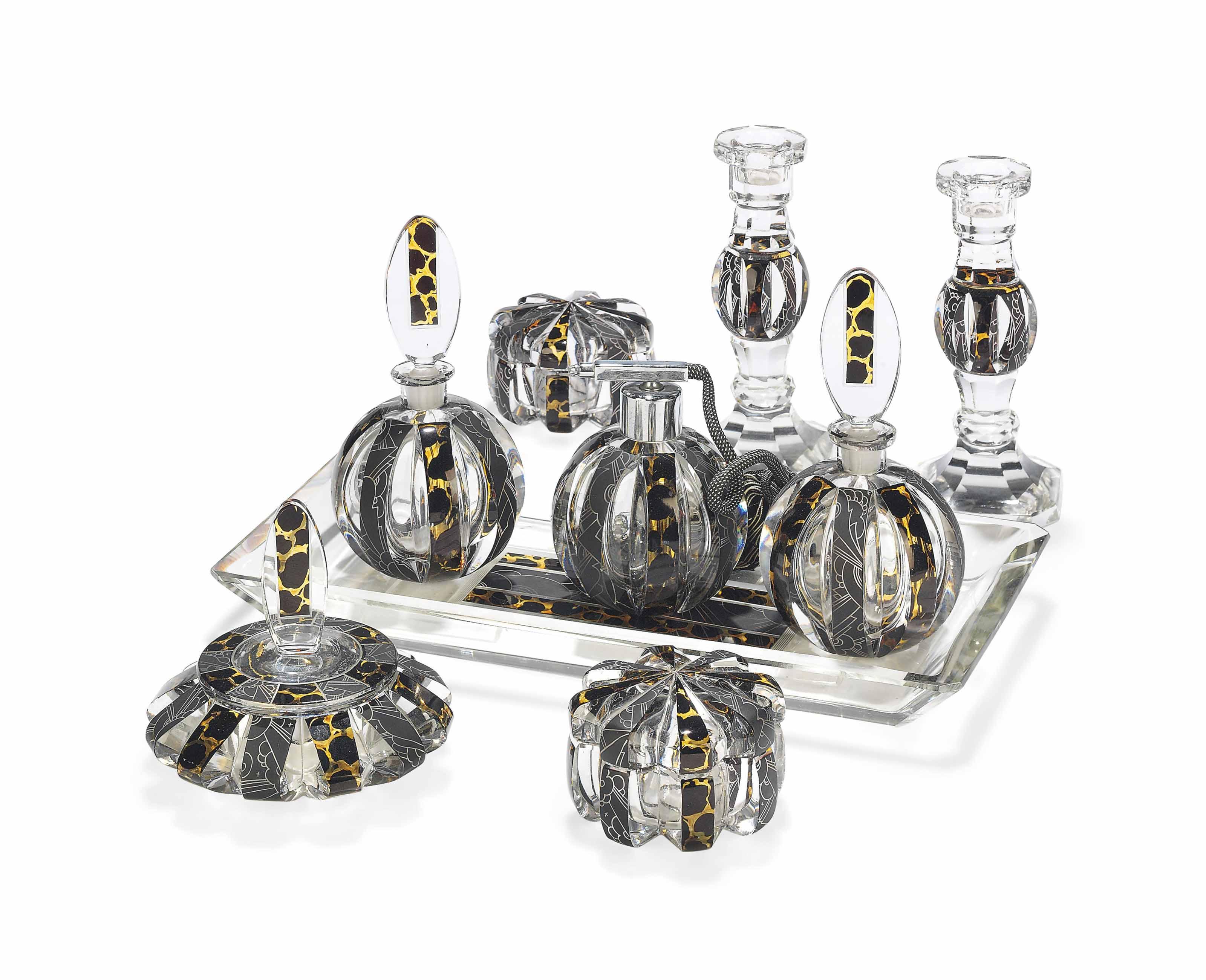 AN ART DECO-STYLE CUT-GLASS DRESSING TABLE SET
