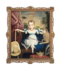 Portrait of a child with a dog, a landscape beyond