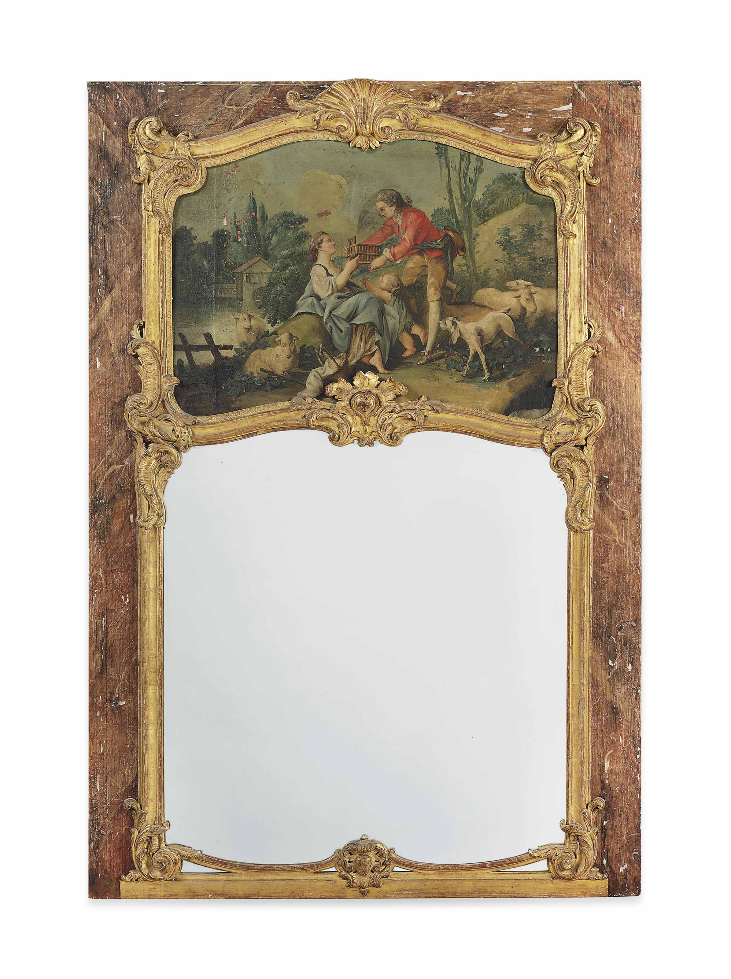 A LOUIS XV GILTWOOD AND SIMULATED MARBLE TRUMEAU MIRROR