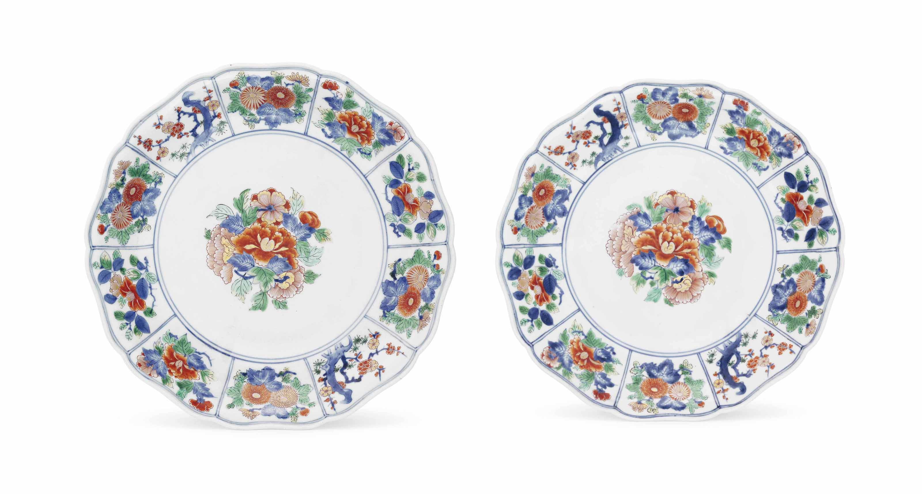 A Rare Pair of Imari Dishes for the Chinese Market