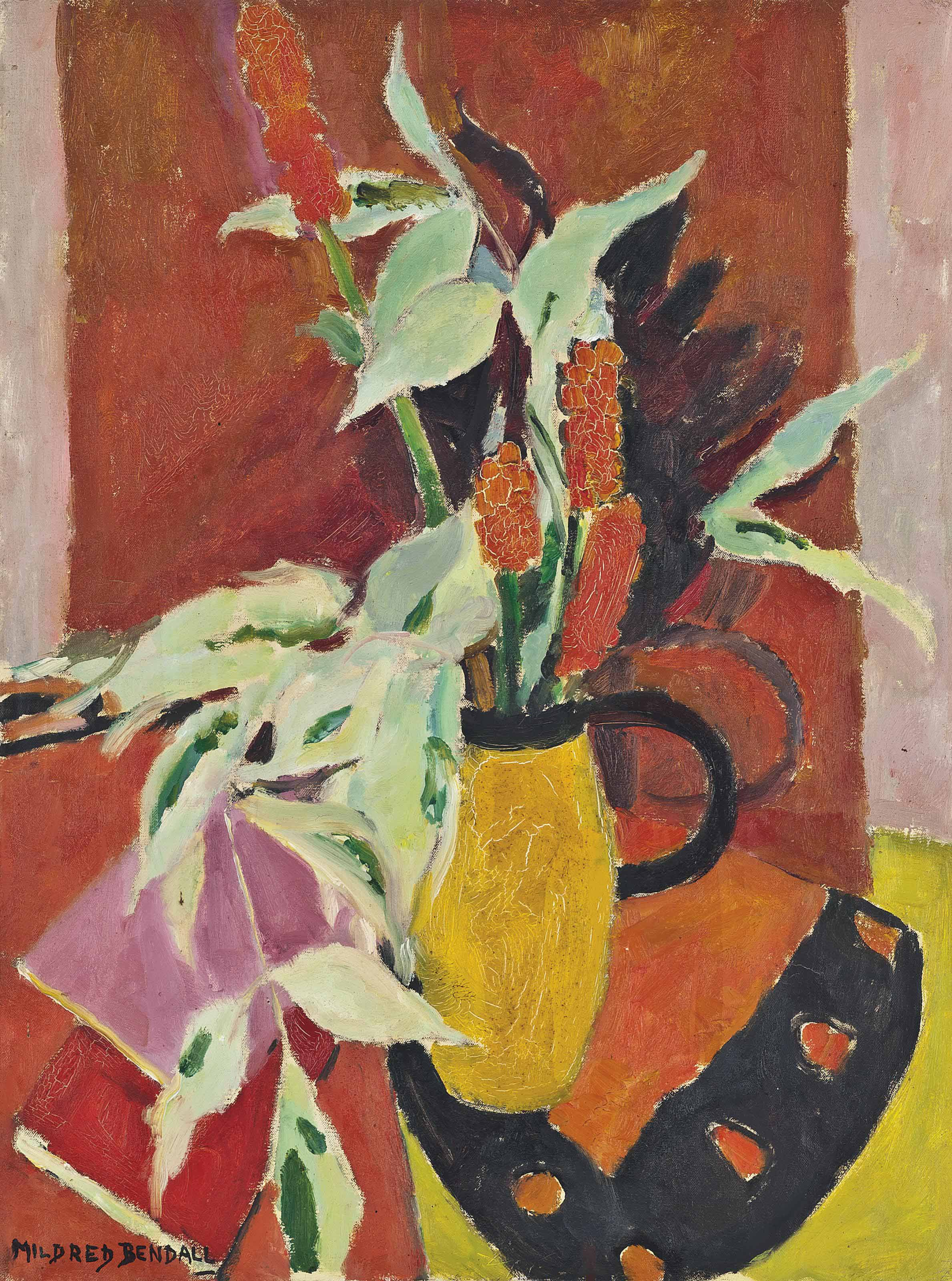 Still life with flowers and yellow jug