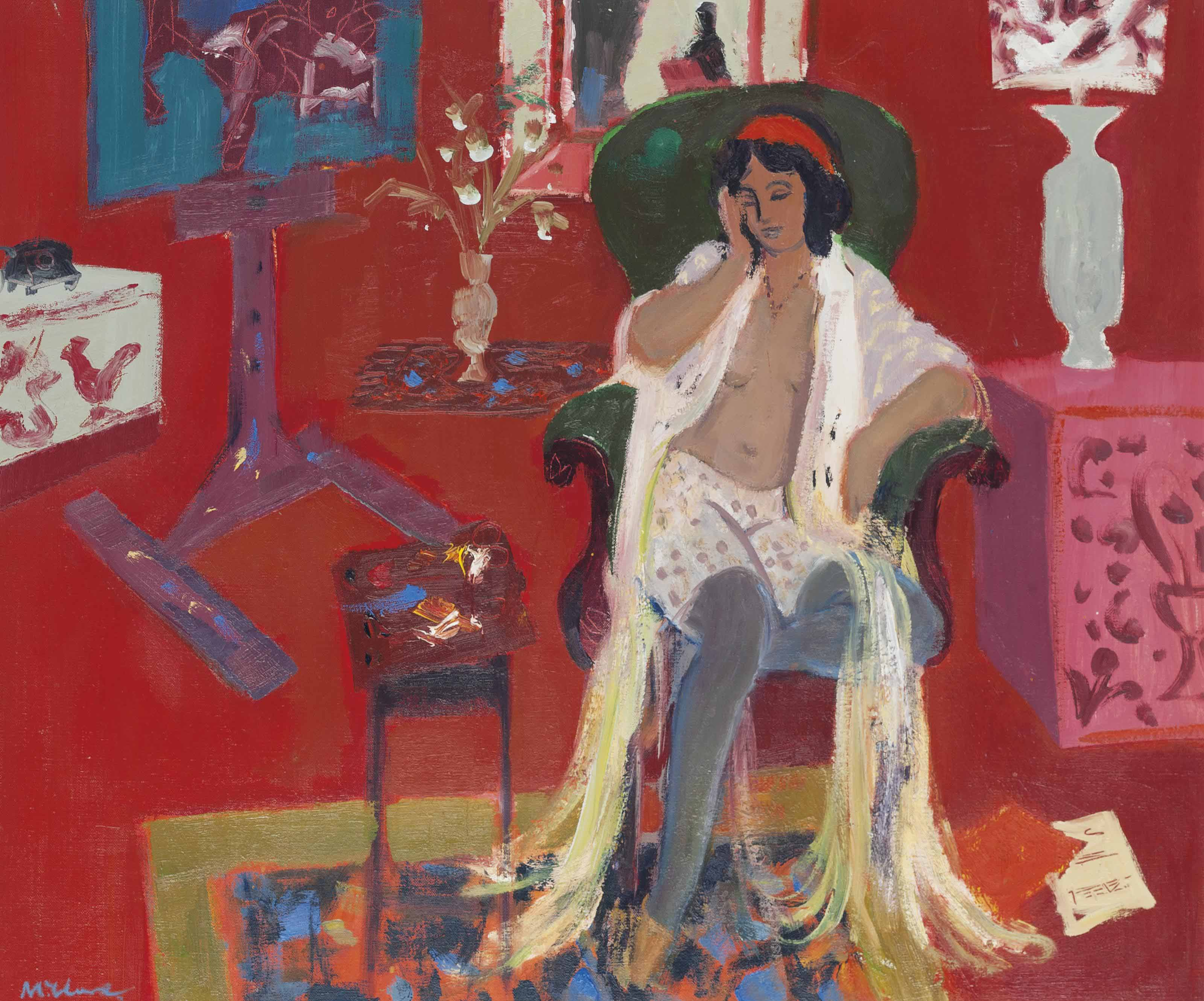 Woman seated in the artist's studio