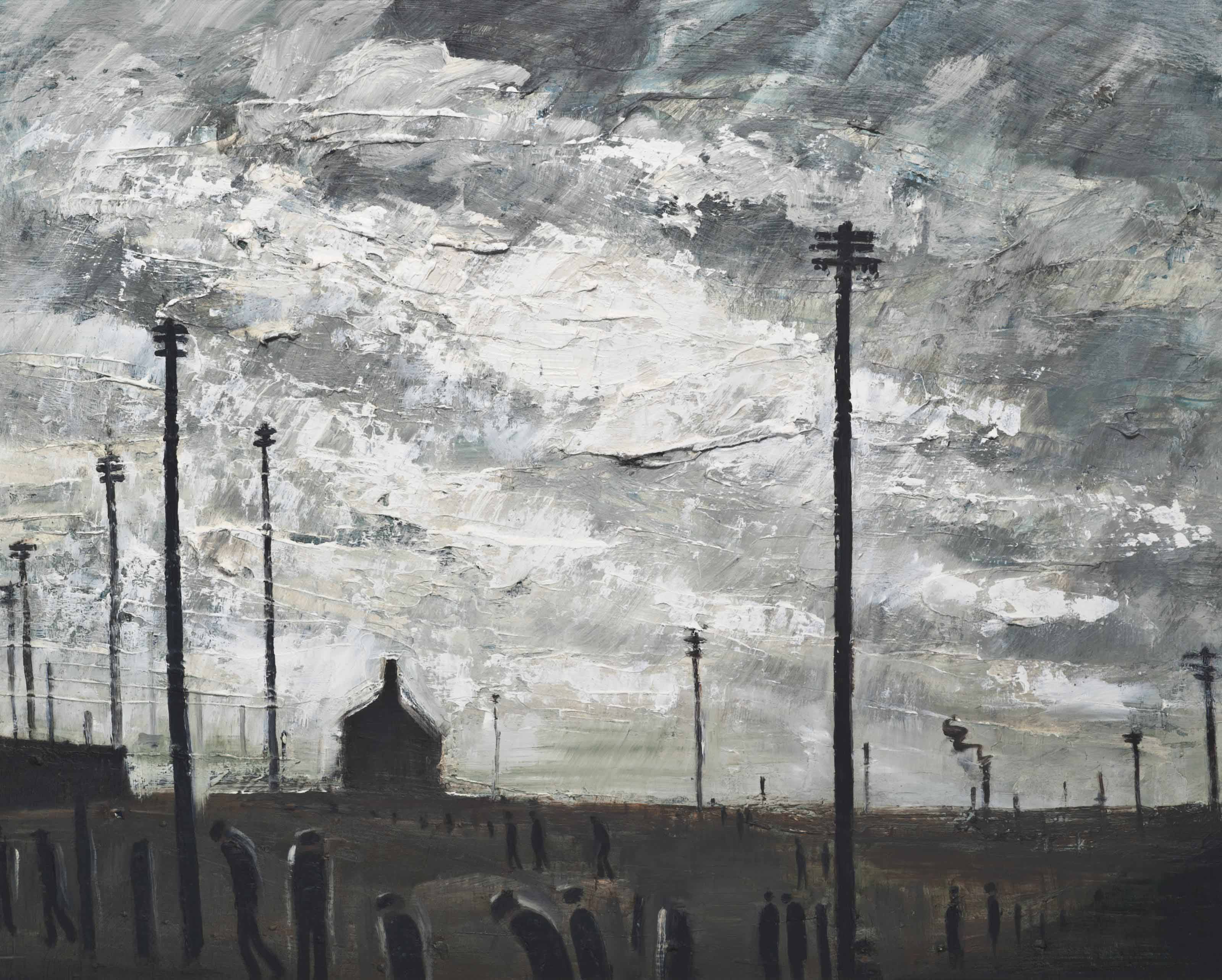 Industrial Landscape with Telegraph Poles