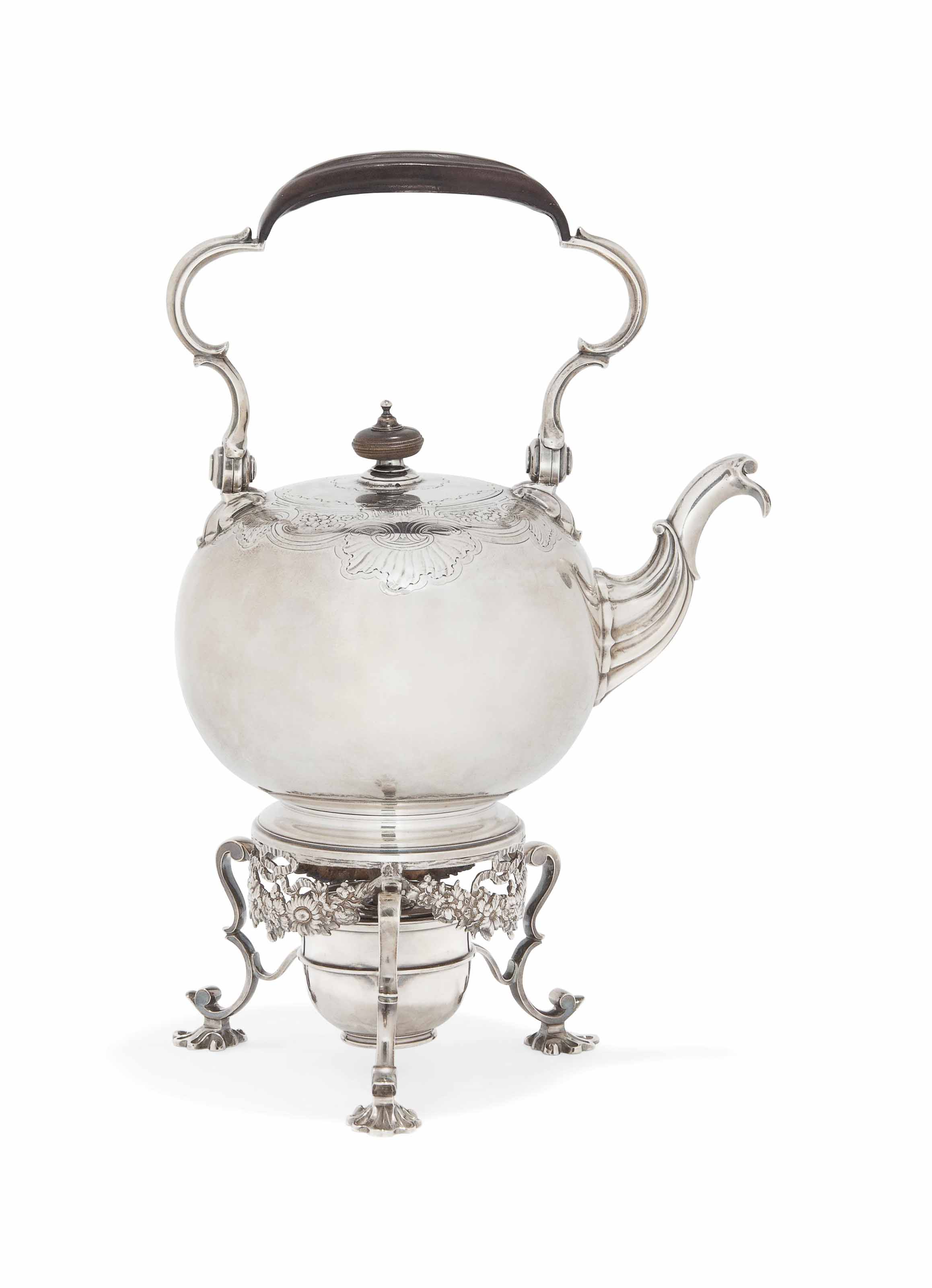 A GEORGE II SILVER TEA KETTLE AND STAND