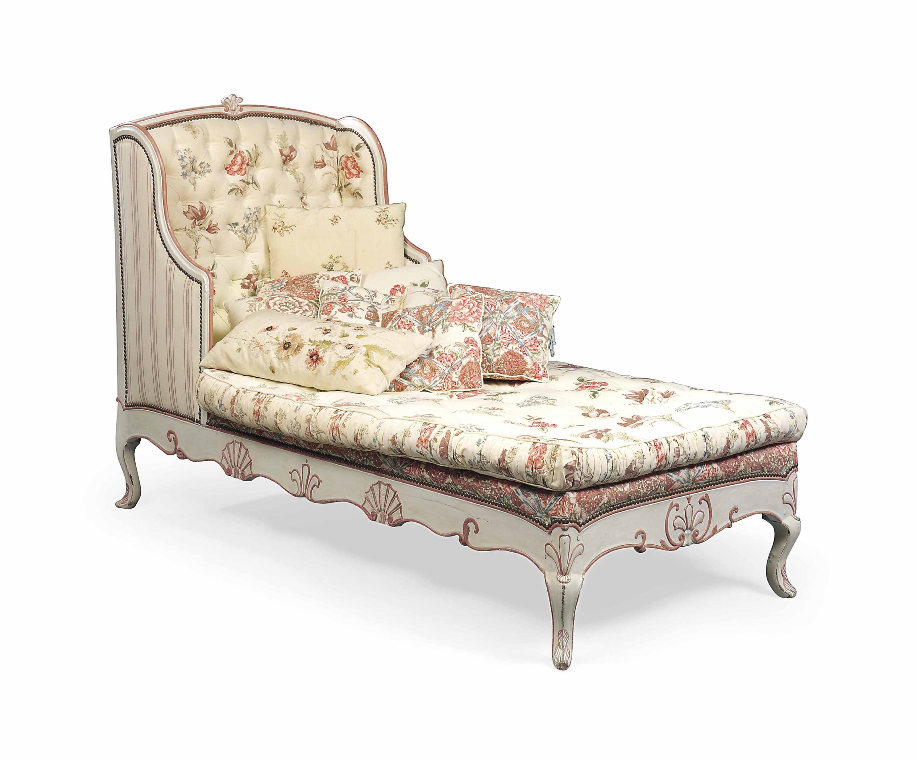 A LOUIS XV STYLE WHITE AND ROSE-PINK PAINTED CHAISE-LONGUE | MID ...