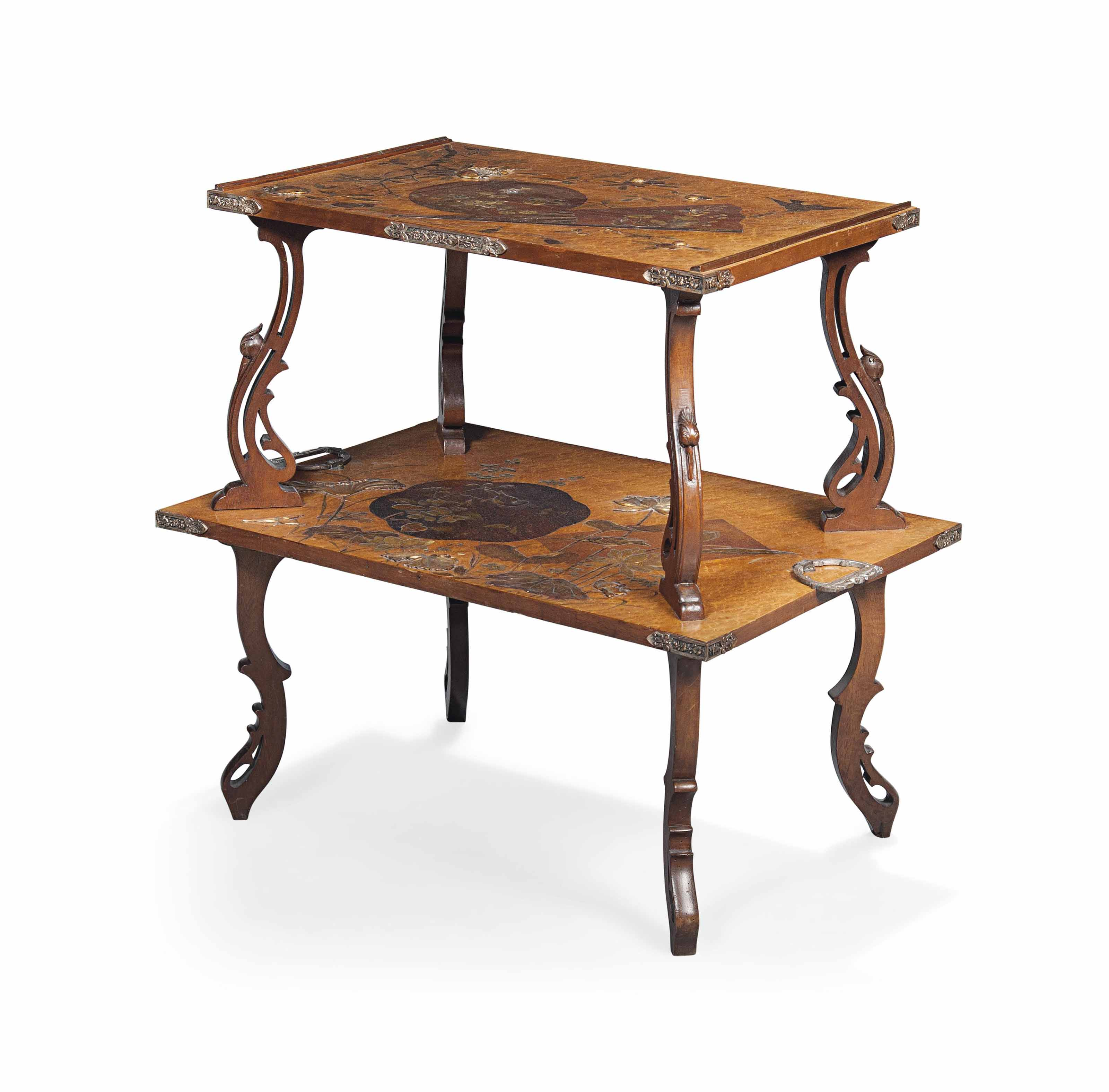 A FRENCH 'JAPONISME' ORMOLU-MOUNTED WALNUT, ROSEWOOD AND BIRDSEYE MAPLE ETAGERE
