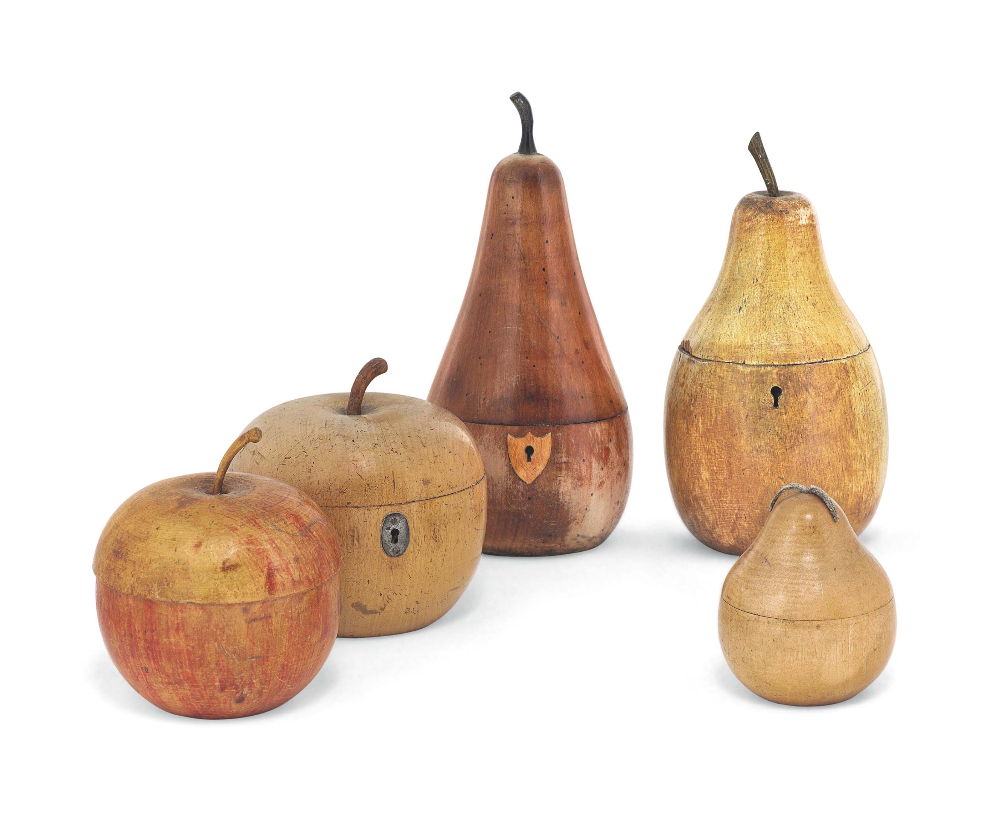 A COLLECTION OF FIVE FRUITWOOD