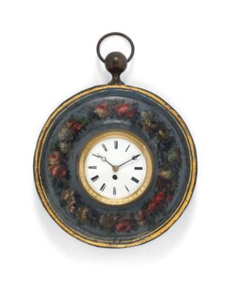A FRENCH TOLE-PEINTE CLOCK