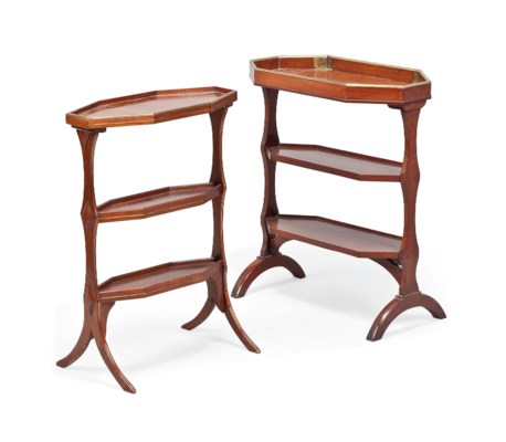 TWO FRENCH MAHOGANY AND BRASS-