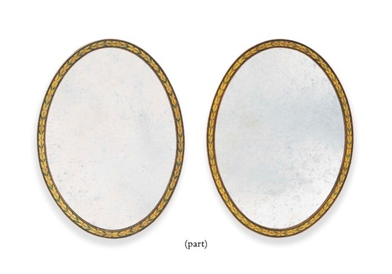A PAIR OF ENGLISH PAINTED OVAL