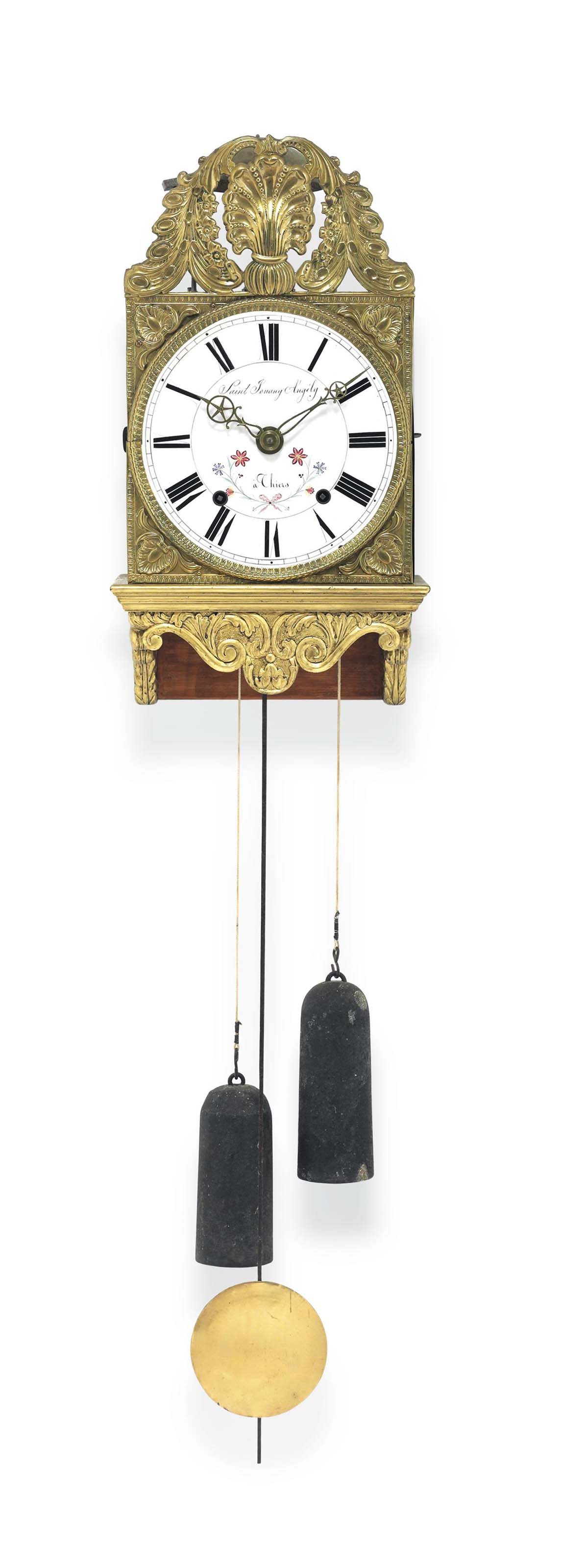 A FRENCH GILTWOOD WEIGHT-DRIVE