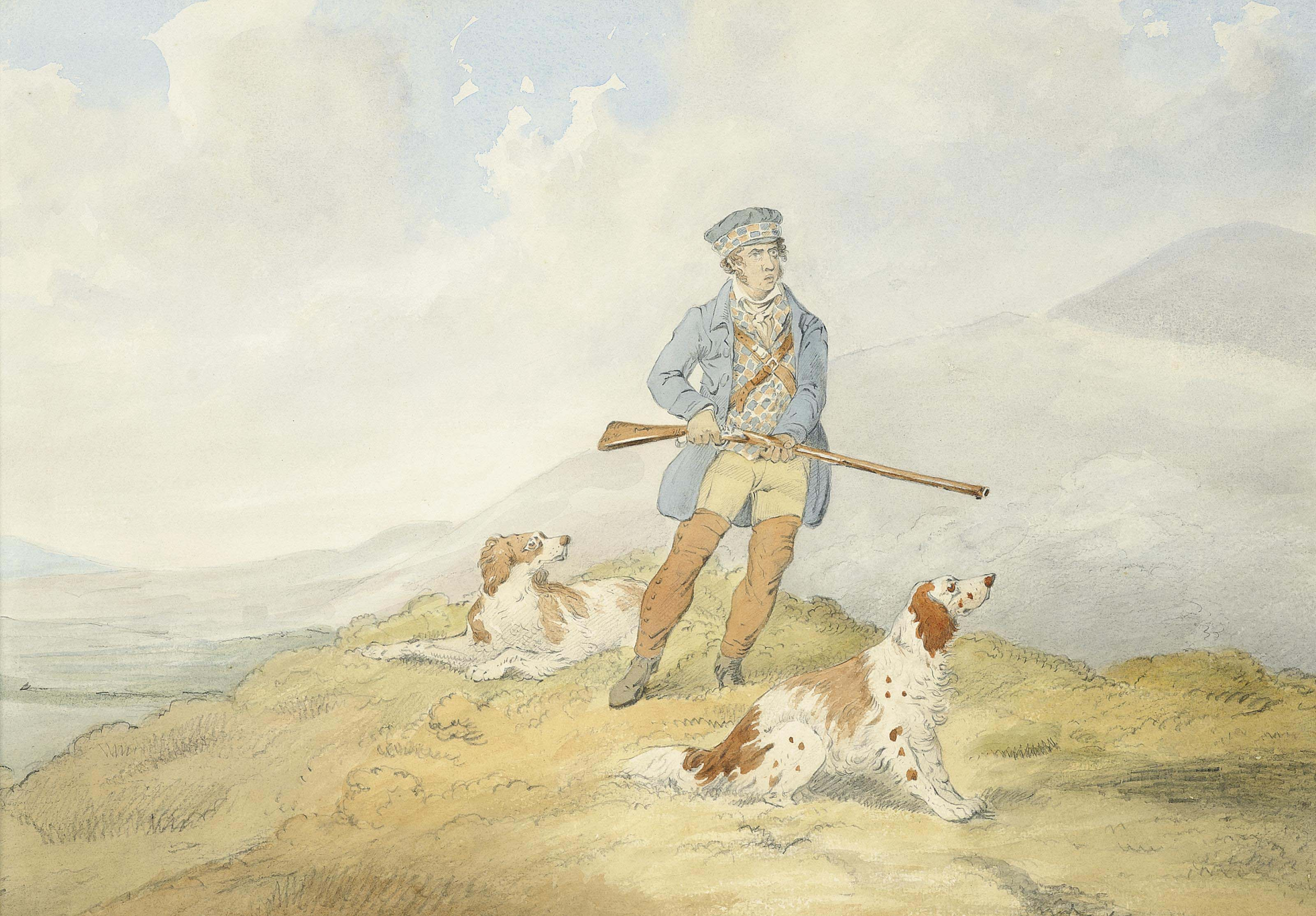 An Irish huntsman and his red and white setters preparing to shoot