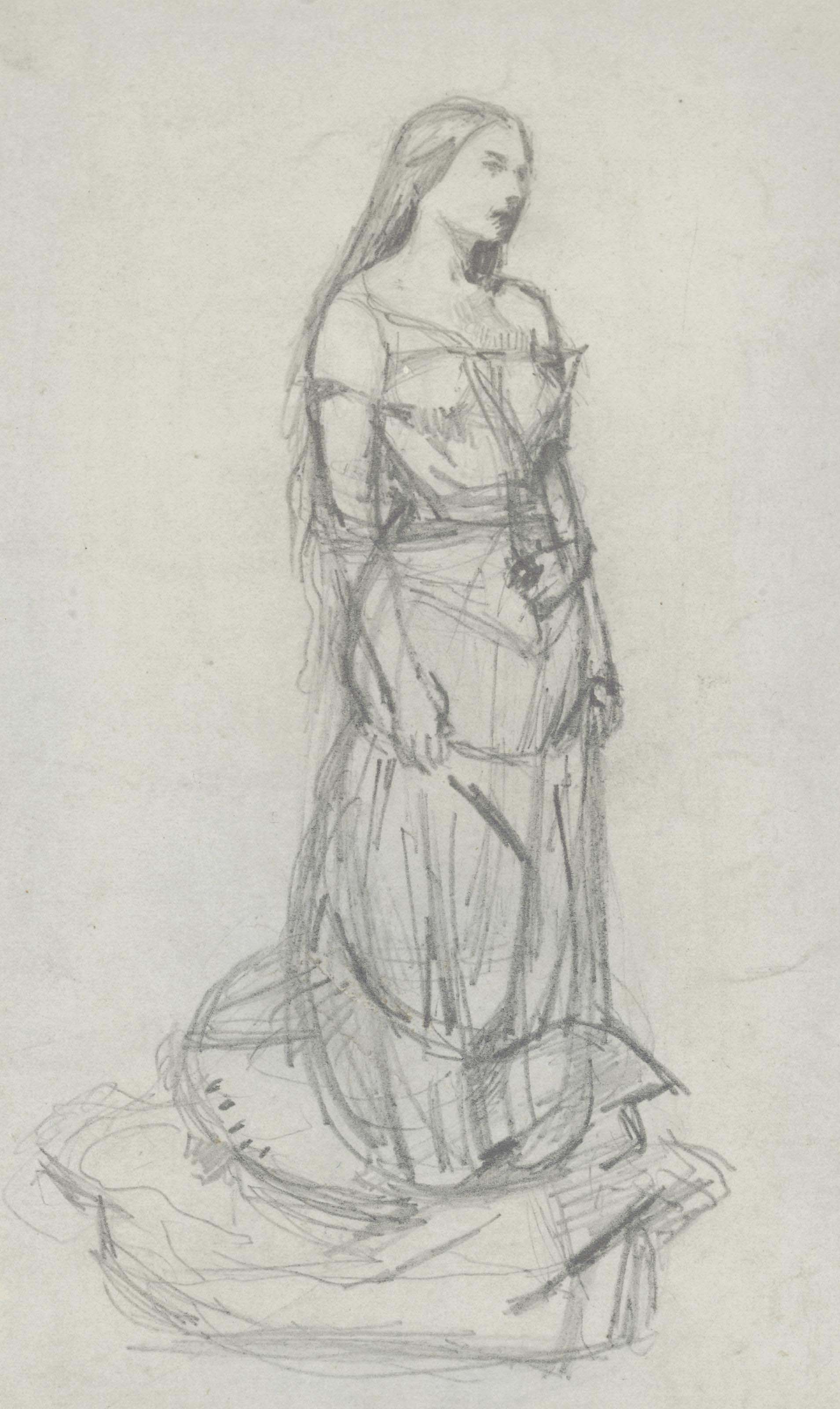 Study of Effie Millais as Agnes for 'The Eve of Saint Agnes'
