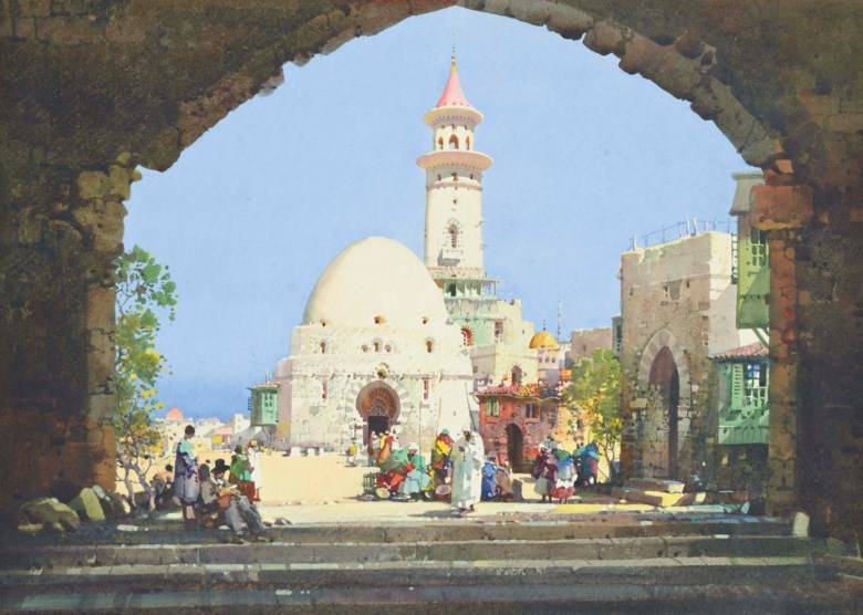 Noel Harry Leaver (1889-1951), Arabs Selling Their Wares Before a Mosque. Pencil and watercolour heightened with bodycolour. 10 x 13⅞  in (25.4 x 35.3  cm). Sold for £3,000 on 3 September 2013 at Christie's in London