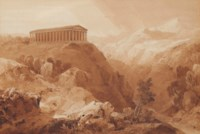 A view of the Vatican from the North Side; and a view of the doric temple at Segesta, Sicily.