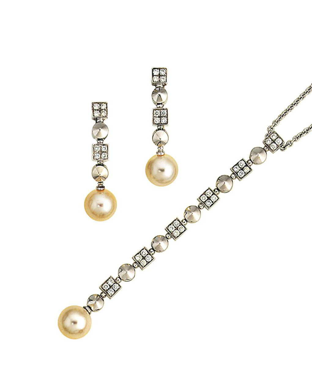 Bulgari Pearl Necklace: A Cultured Pearl And Diamond 'Lucea' Pair Of Earrings And