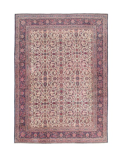 A FINE UNUSUAL KASHAN CARPET,