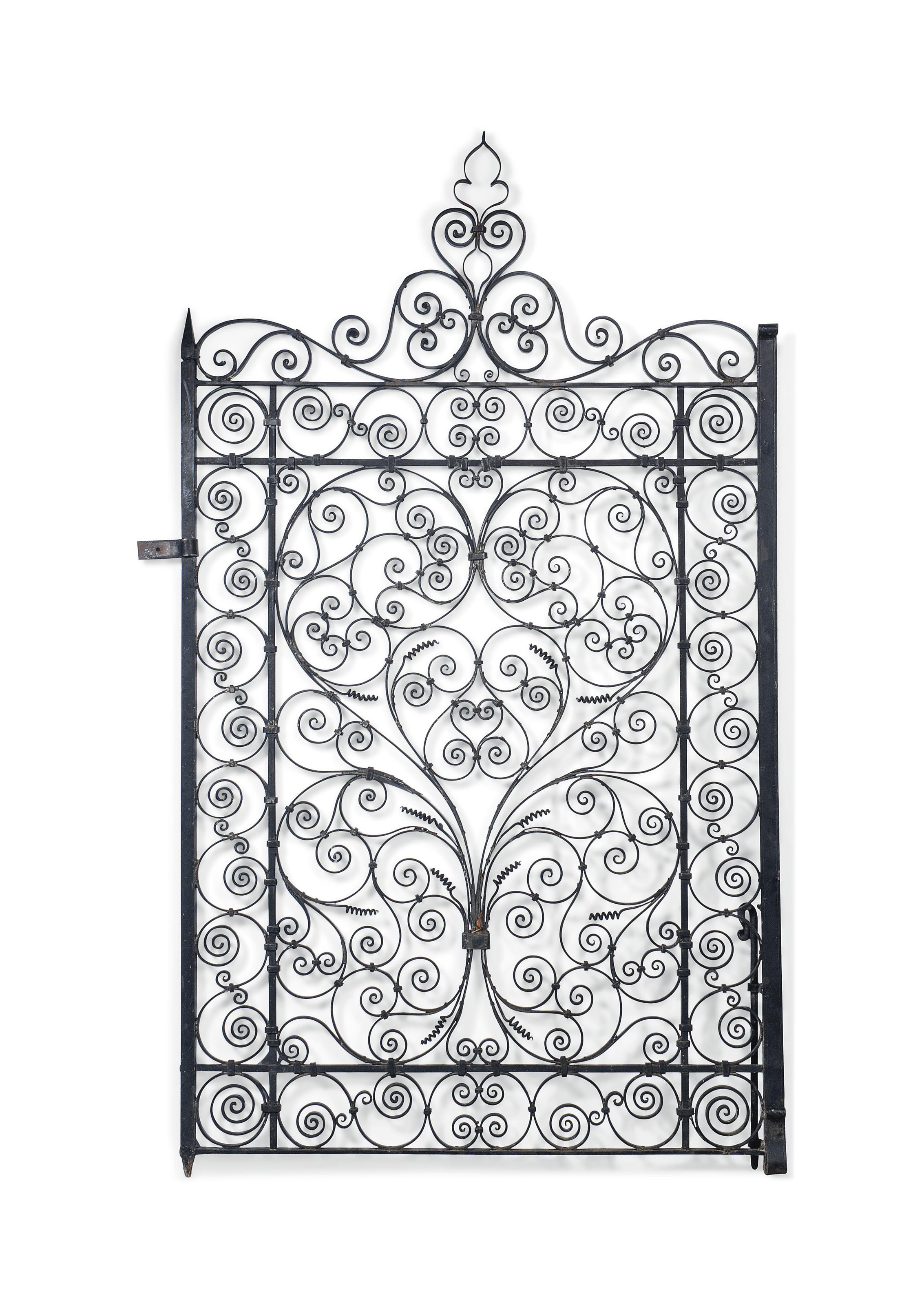 A LARGE BLACK-PAINTED WROUGHT IRON GATE