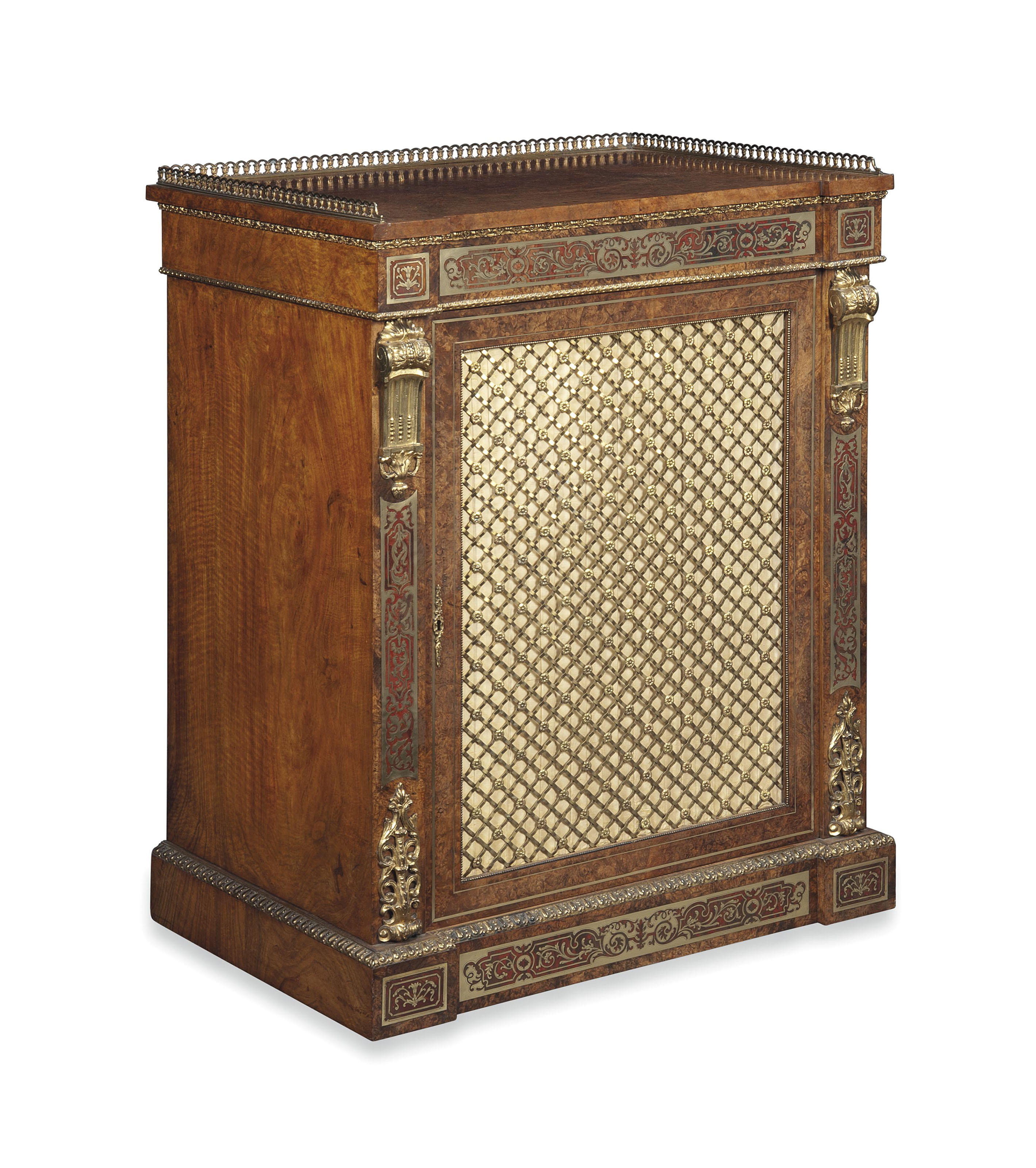 A VICTORIAN GILT-METAL MOUNTED, BRASS-INLAID TORTOISESHELL AND FIGURED WALNUT SIDE CABINET