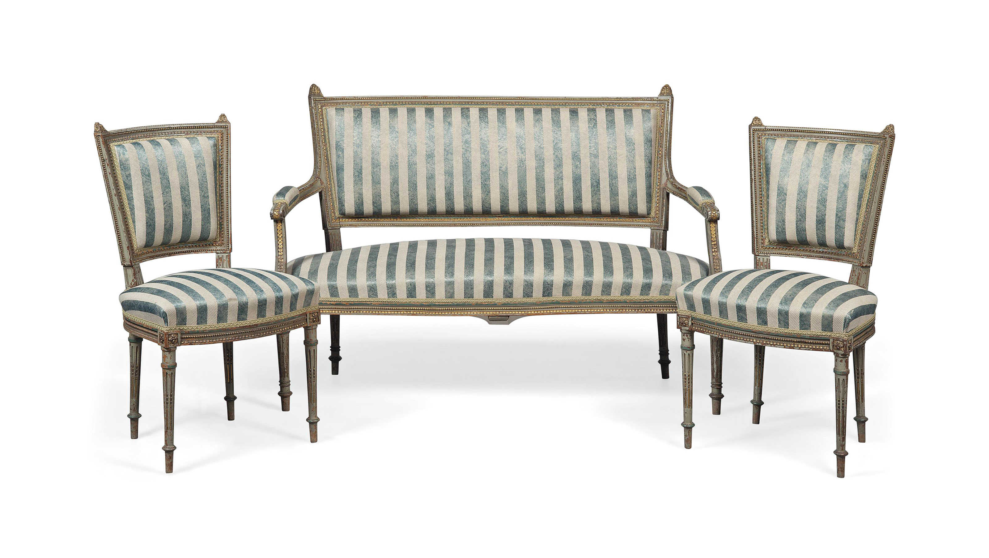 A FRENCH GREY PAINTED AND PARCEL GILT SALON SUITE
