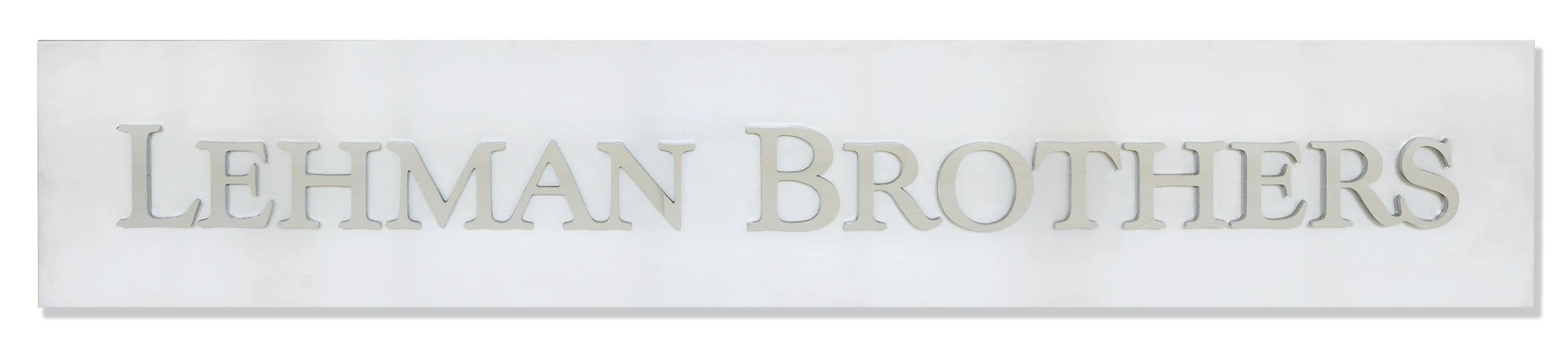 A POLISHED AND BRUSHED METAL LEHMAN BROTHERS CORPORATE SIGN