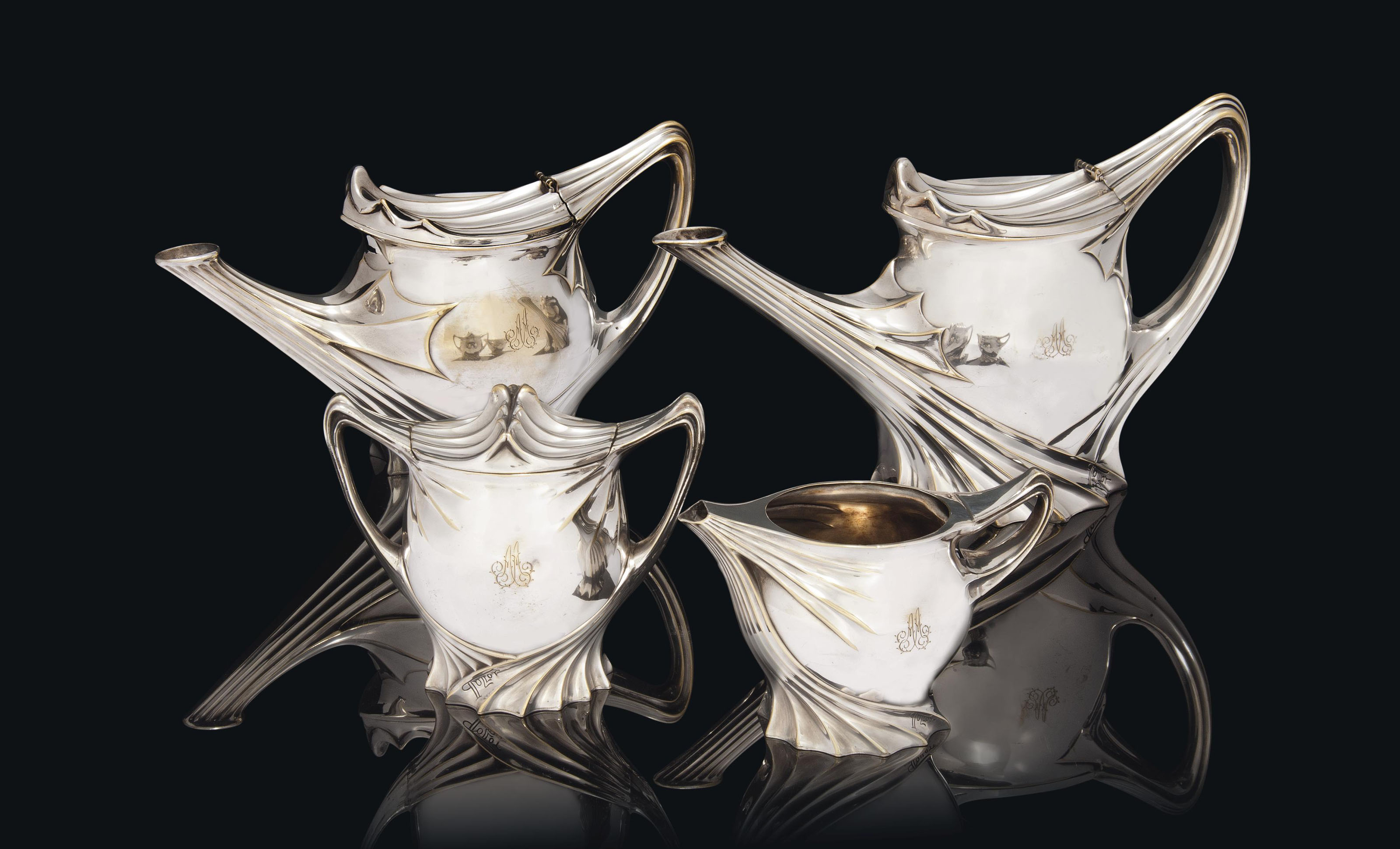 A PAUL FOLLOT (1877-1941) SILVER-PLATED TEA AND COFFEE SET