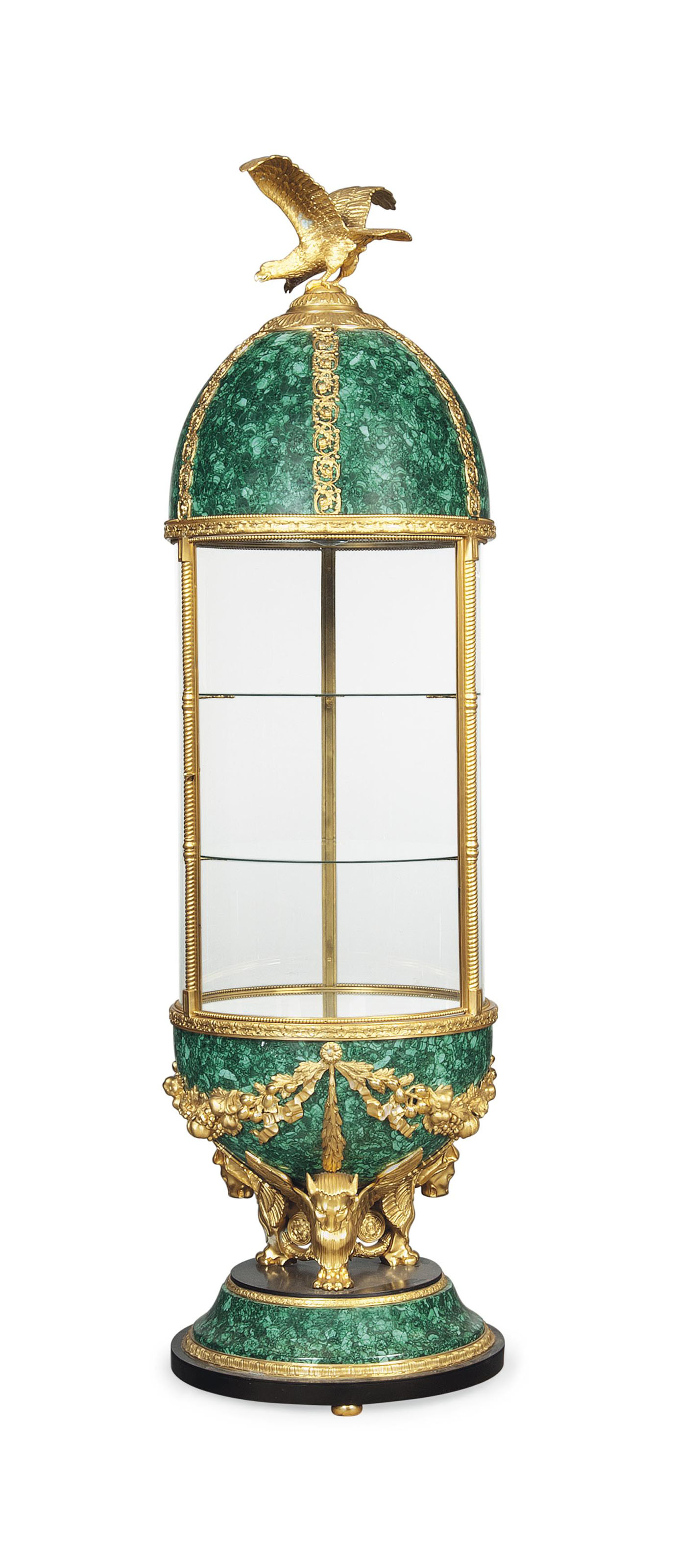 A LARGE MALACHITE AND GILT-BRONZE DISPLAY CABINET