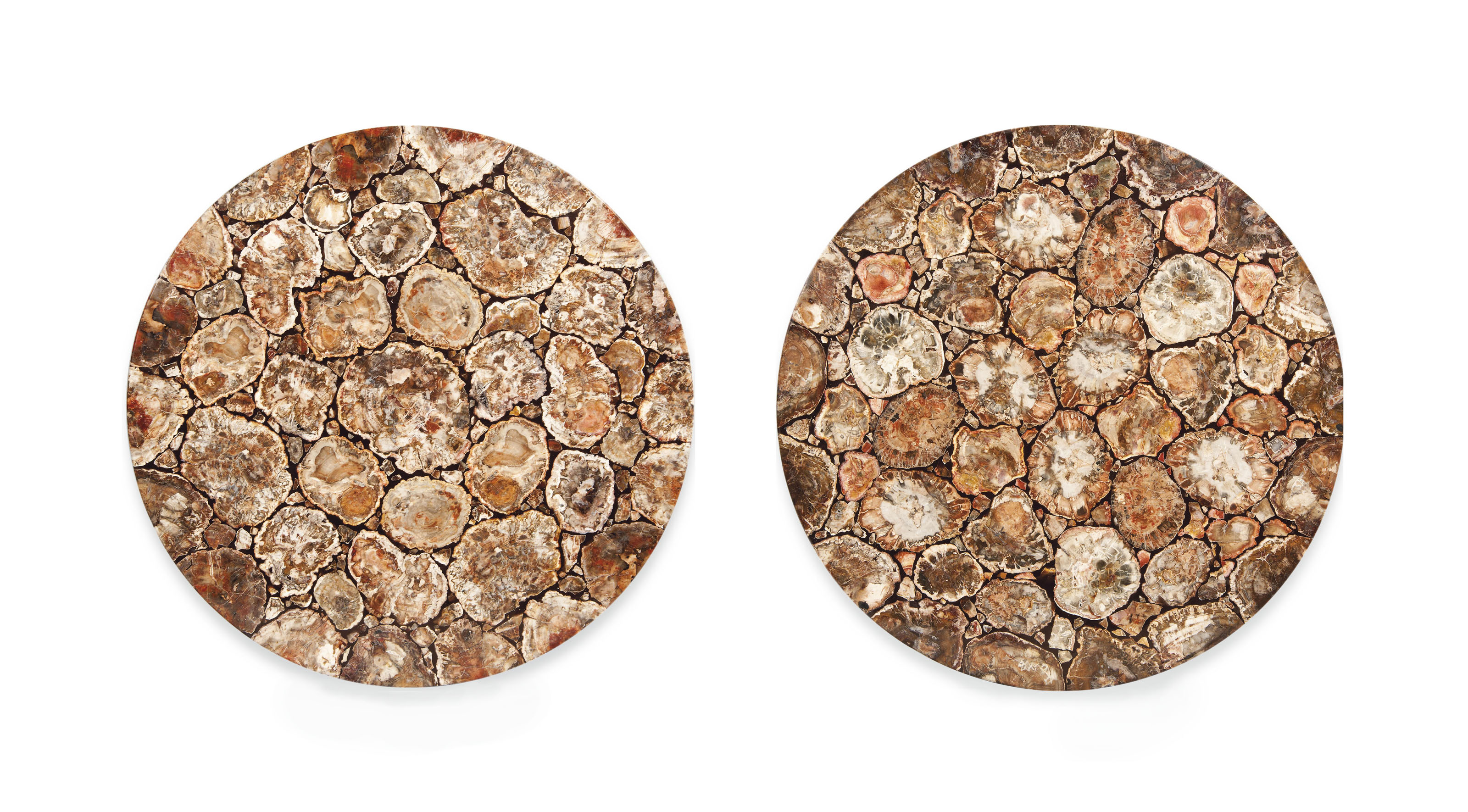 A PAIR OF SCAGLIOLA AND FOSSILISED WOOD TABLE TOPS