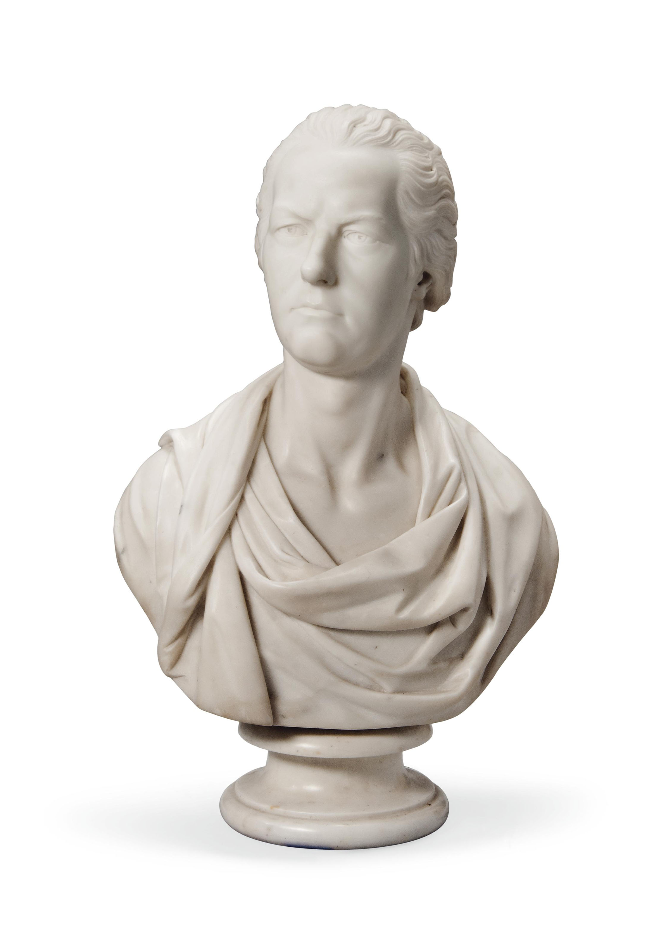 AN ENGLISH WHITE MARBLE BUST OF WILLIAM PITT THE YOUNGER