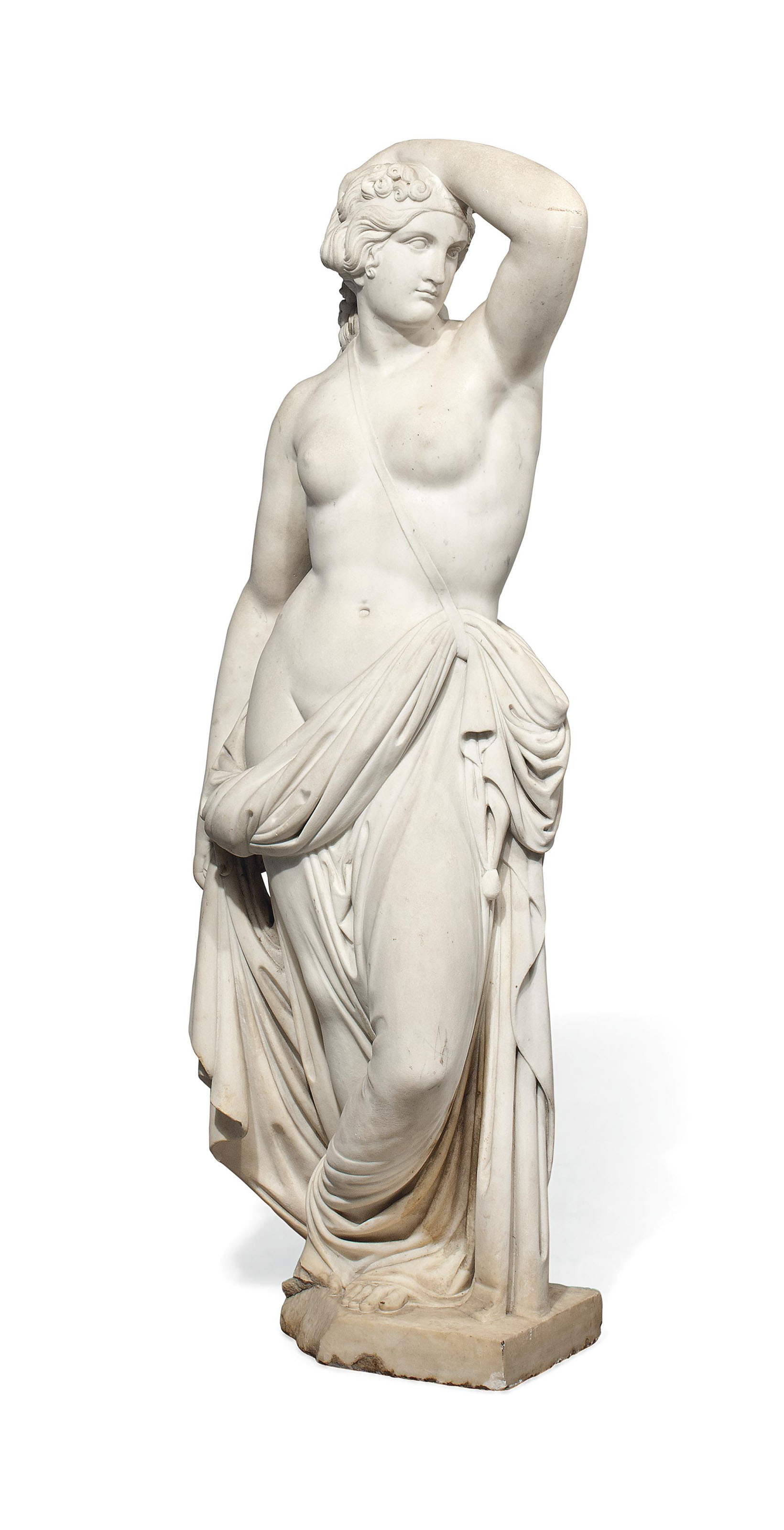 AN ITALIAN MARBLE MODEL OF A CLASSICAL MAIDEN