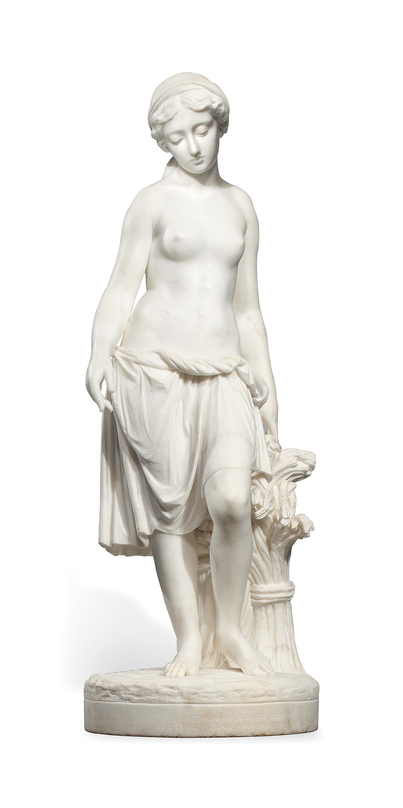 AN ENGLISH SCULPTED WHITE MARBLE FIGURE OF RUTH