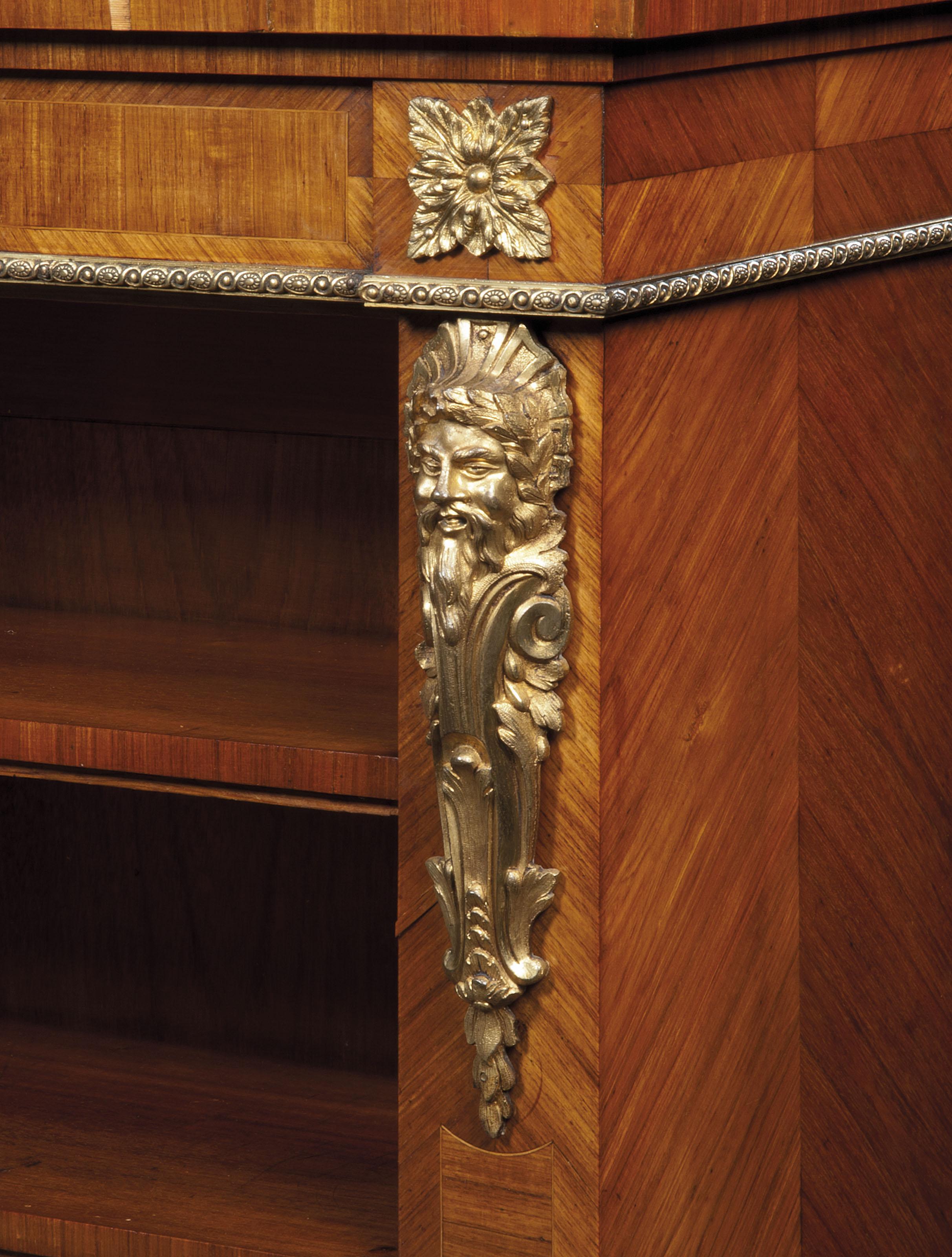 A NAPOLEON III PORCELAIN AND GILT-BRONZE MOUNTED TULIPWOOD BOOKCASE