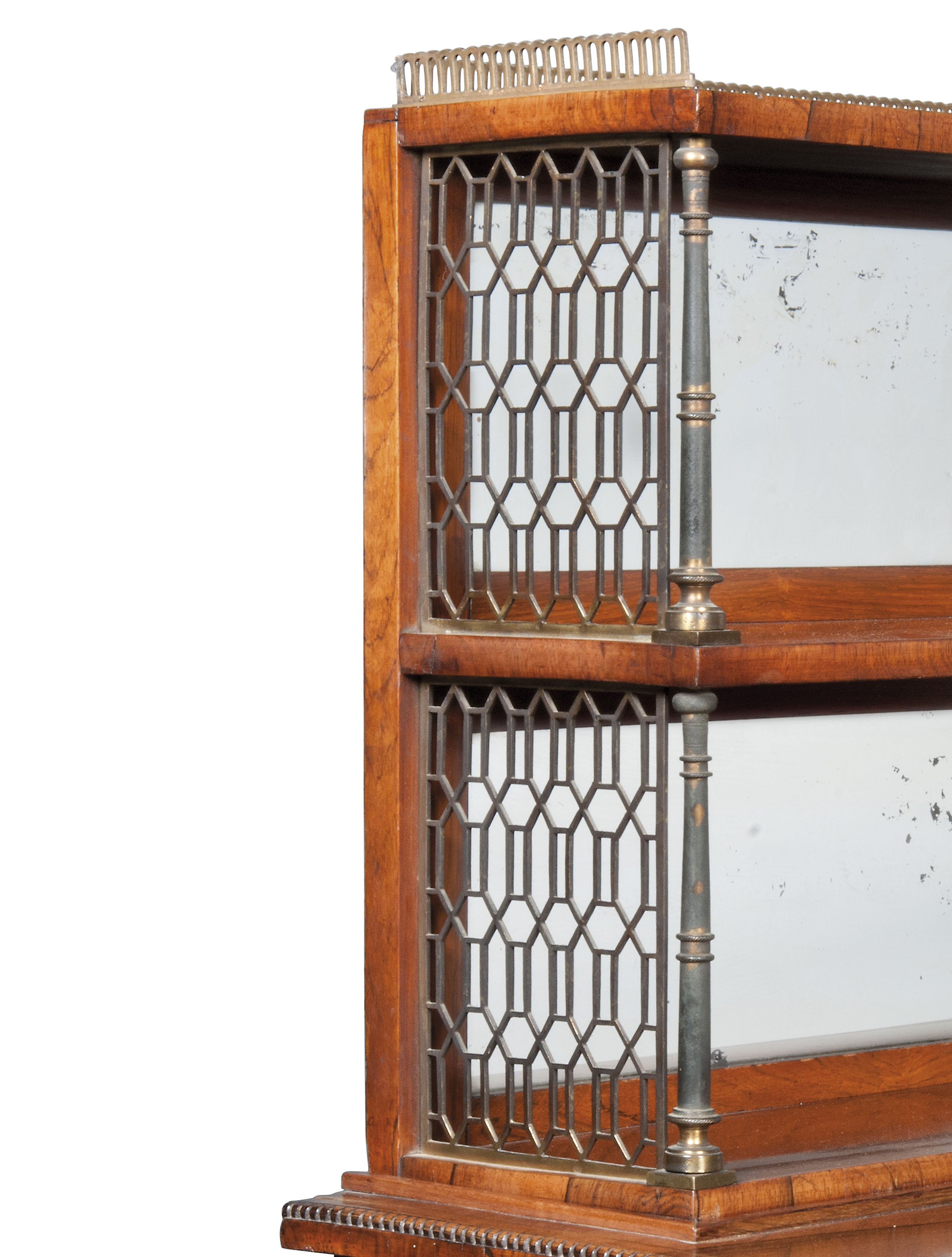 A REGENCY BRASS-MOUNTED AND BRASS-INLAID ROSEWOOD CHIFFONIER