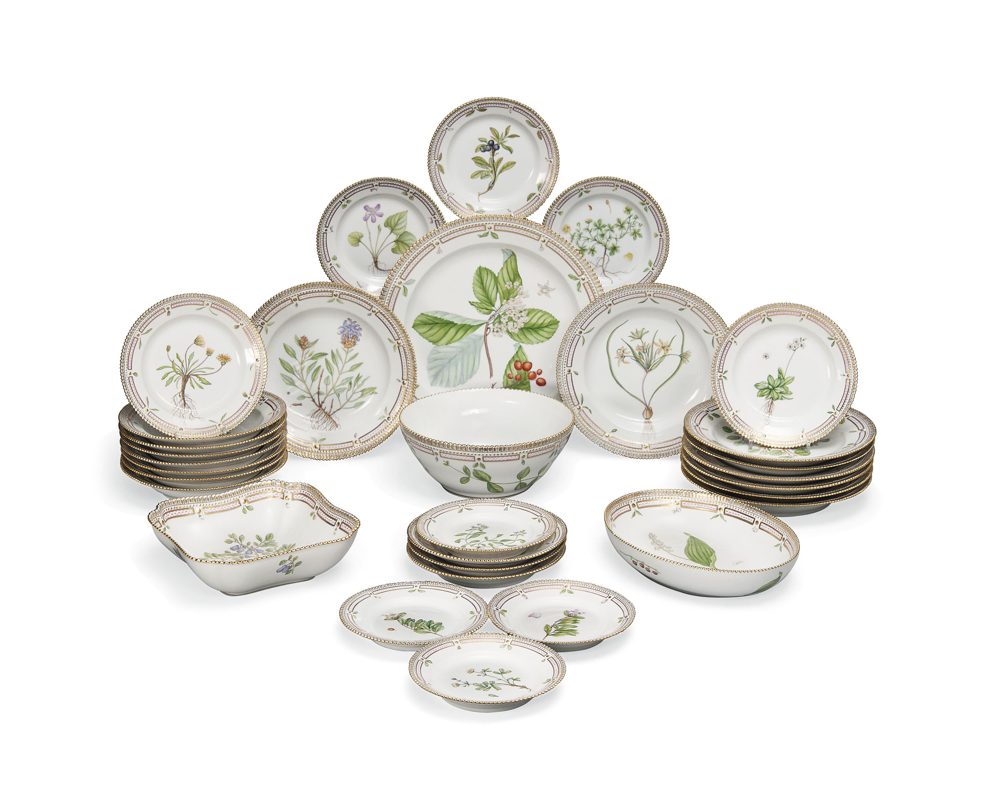 A ROYAL COPENHAGEN 'FLORA DANICA' PART TABLE-SERVICE