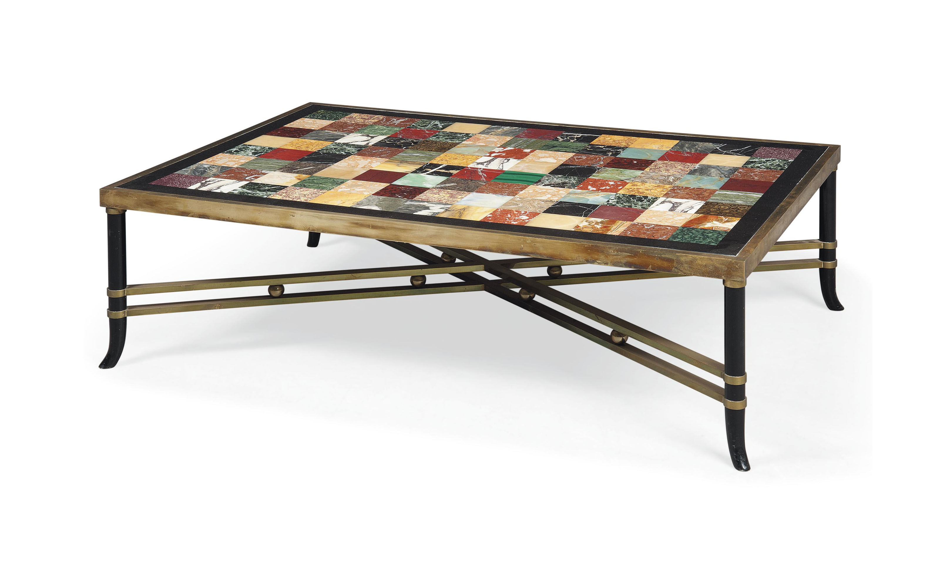 A BRASS AND SPECIMEN MARBLE LOW TABLE