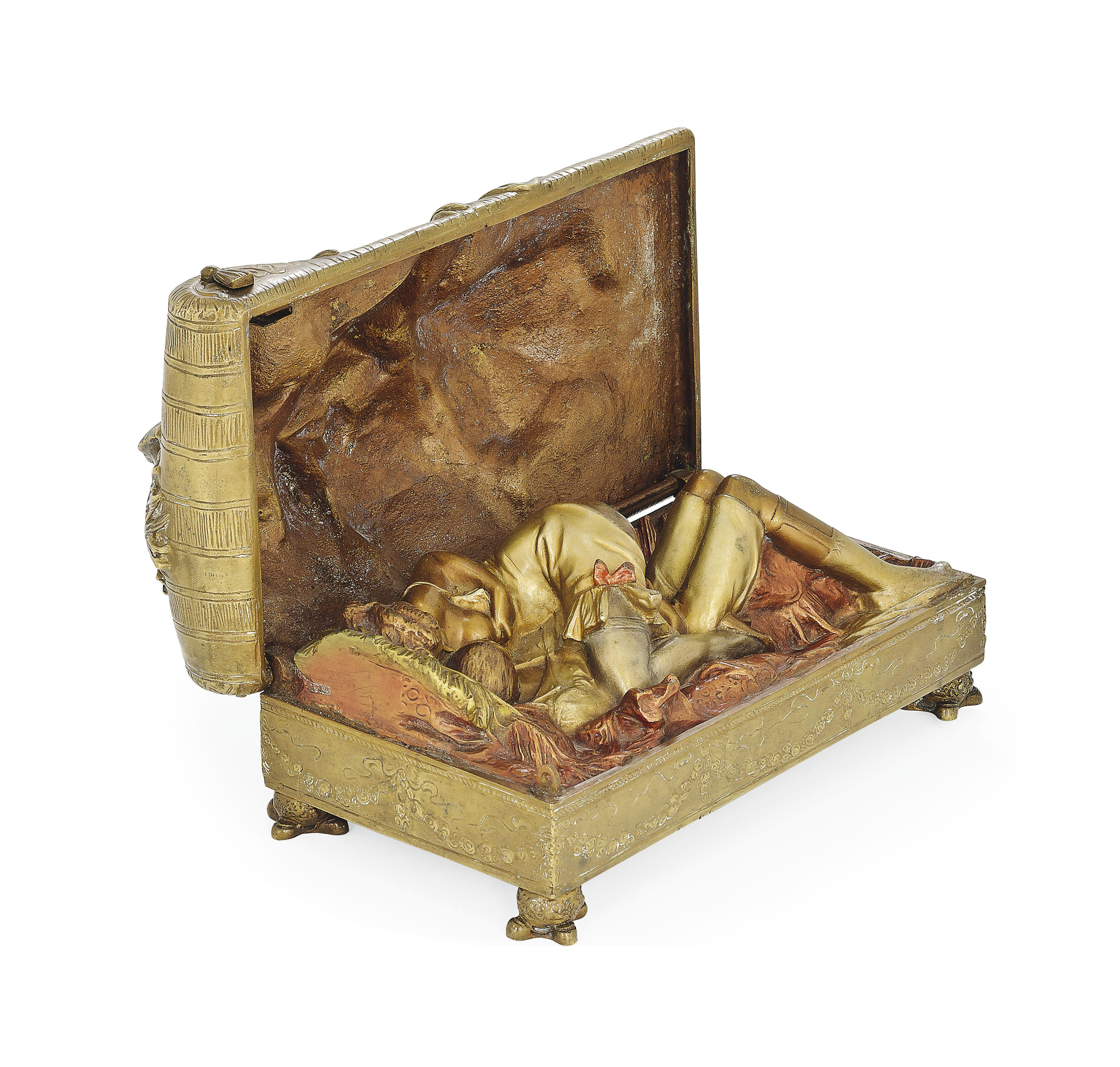 AN EROTIC, COLD-PAINTED BRONZE BOX AND COVER, ATTRIBUTED TO BRUNO ZACH (1891-1935)
