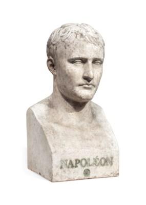 A PLASTER BUST OF NAPOLEON BON