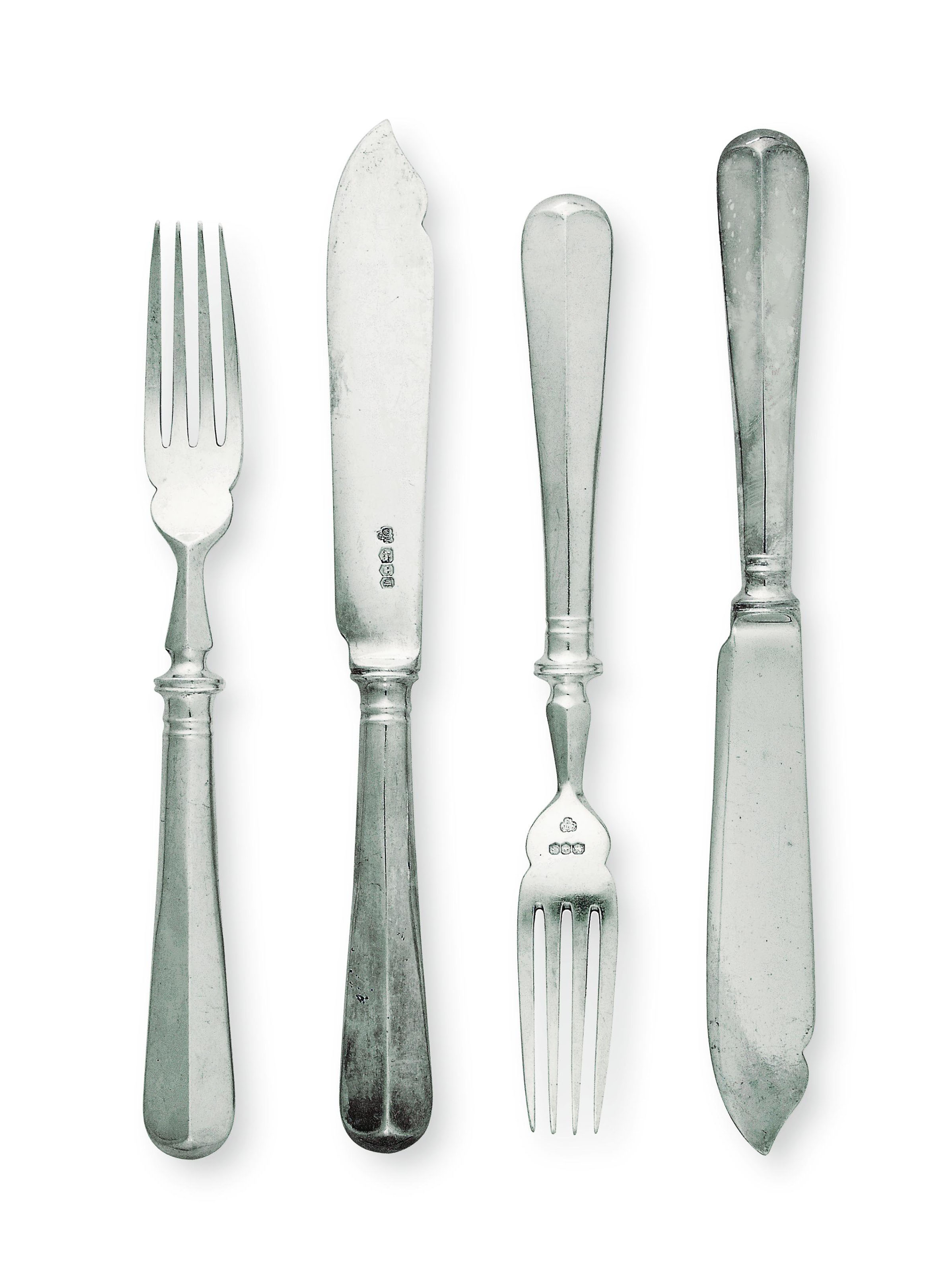 TWENTY-FOUR PAIRS OF MODERN SILVER FISH KNIVES AND FORKS