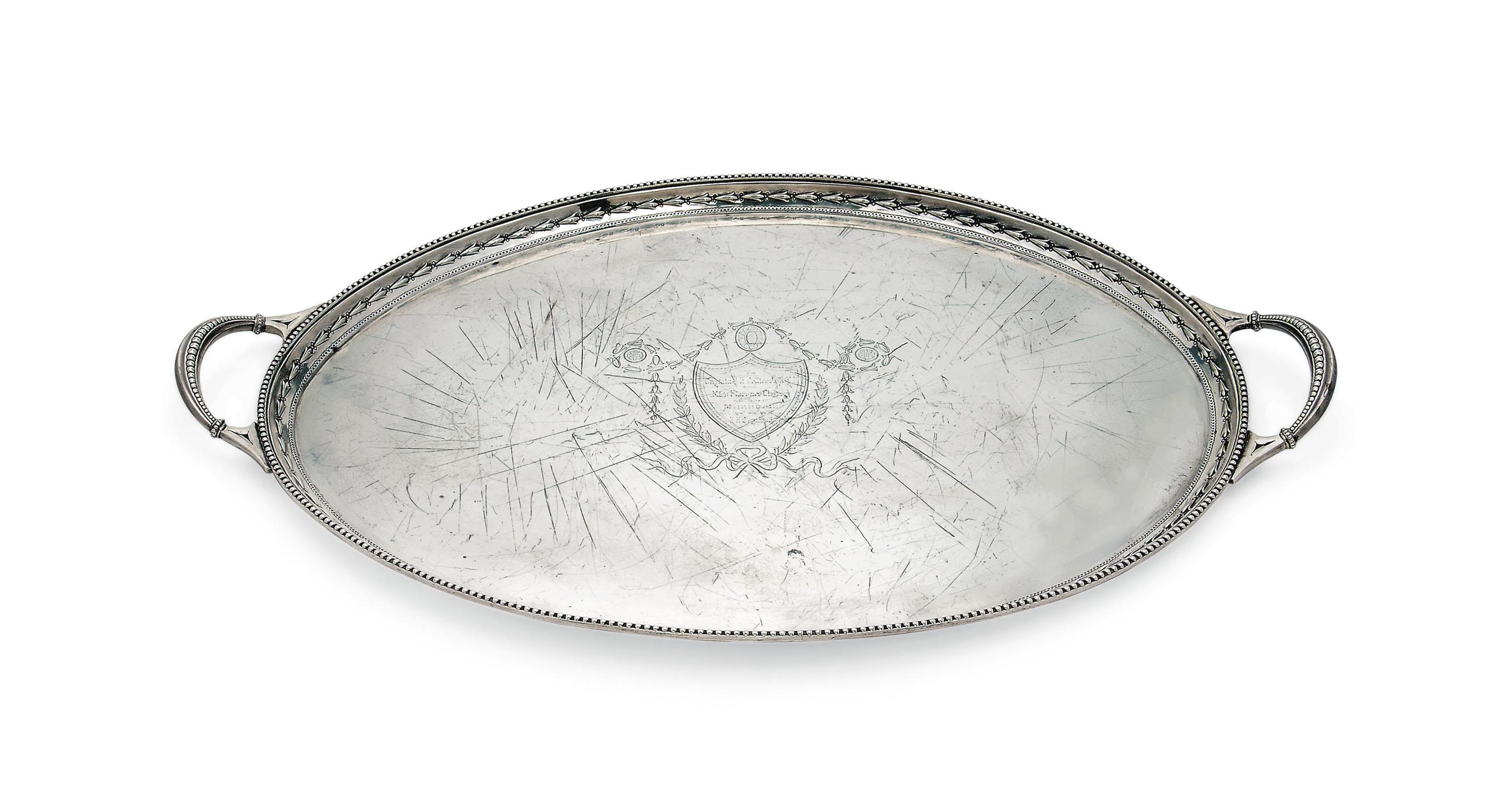 A LATE VICTORIAN SILVER OVAL TWO-HANDLED TRAY