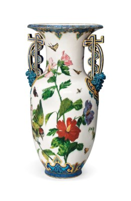 A FRENCH PORCELAIN LARGE TWO-H
