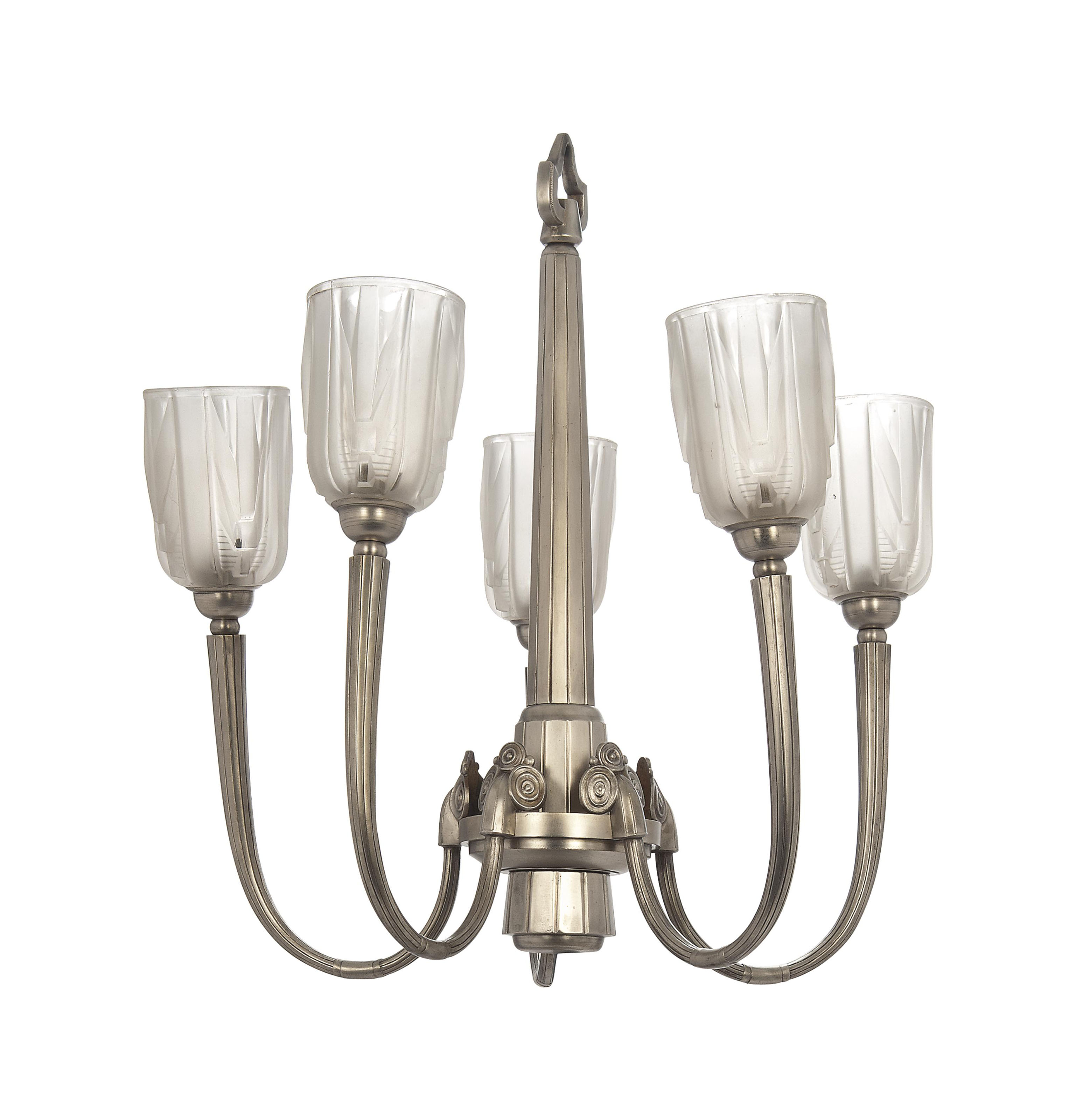 A MULLER FRÈRES SILVERED METAL AND MOULDED GLASS FIVE BRANCH CEILING LIGHT
