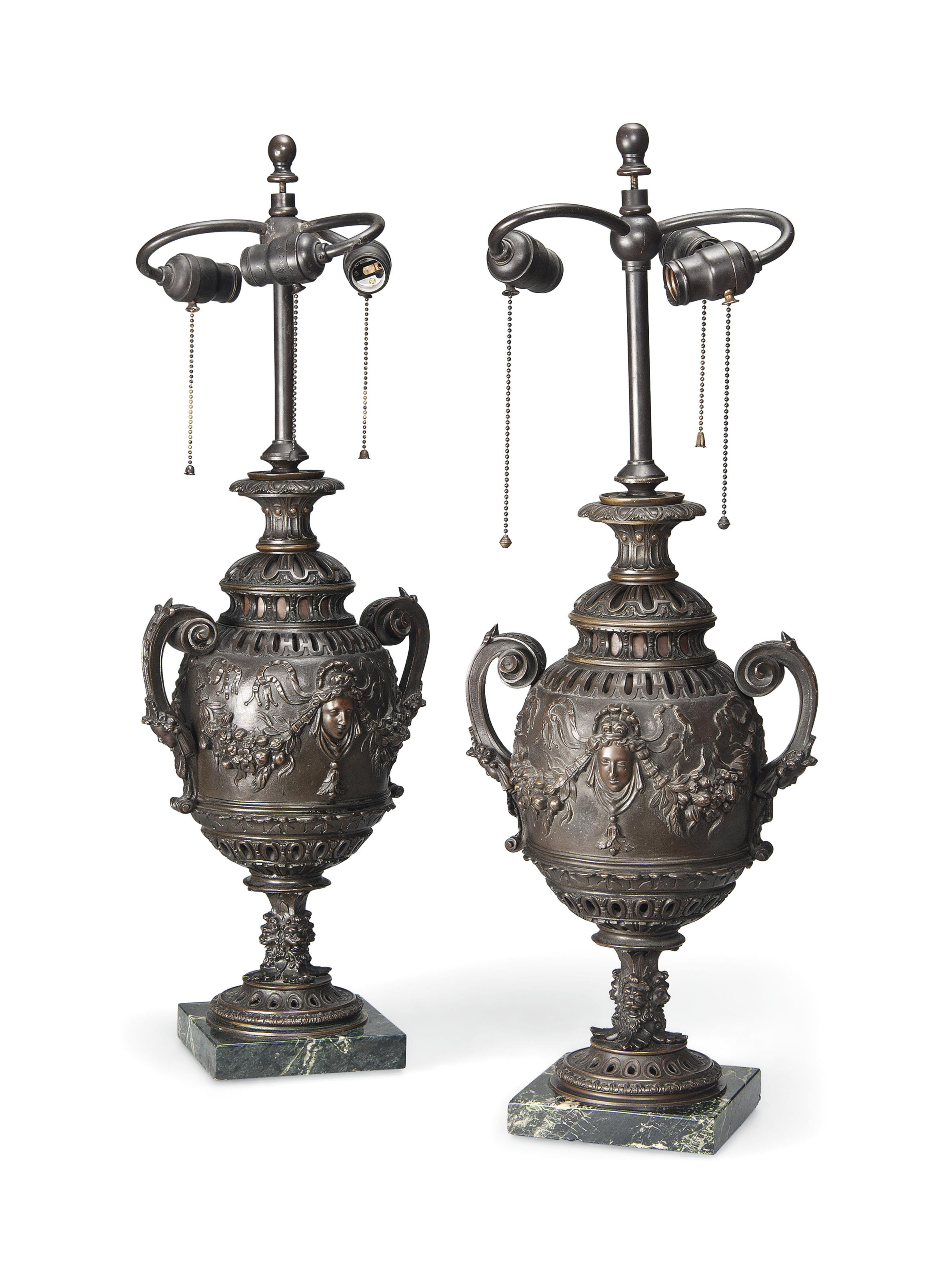 A PAIR OF FRENCH BRONZE URN TA