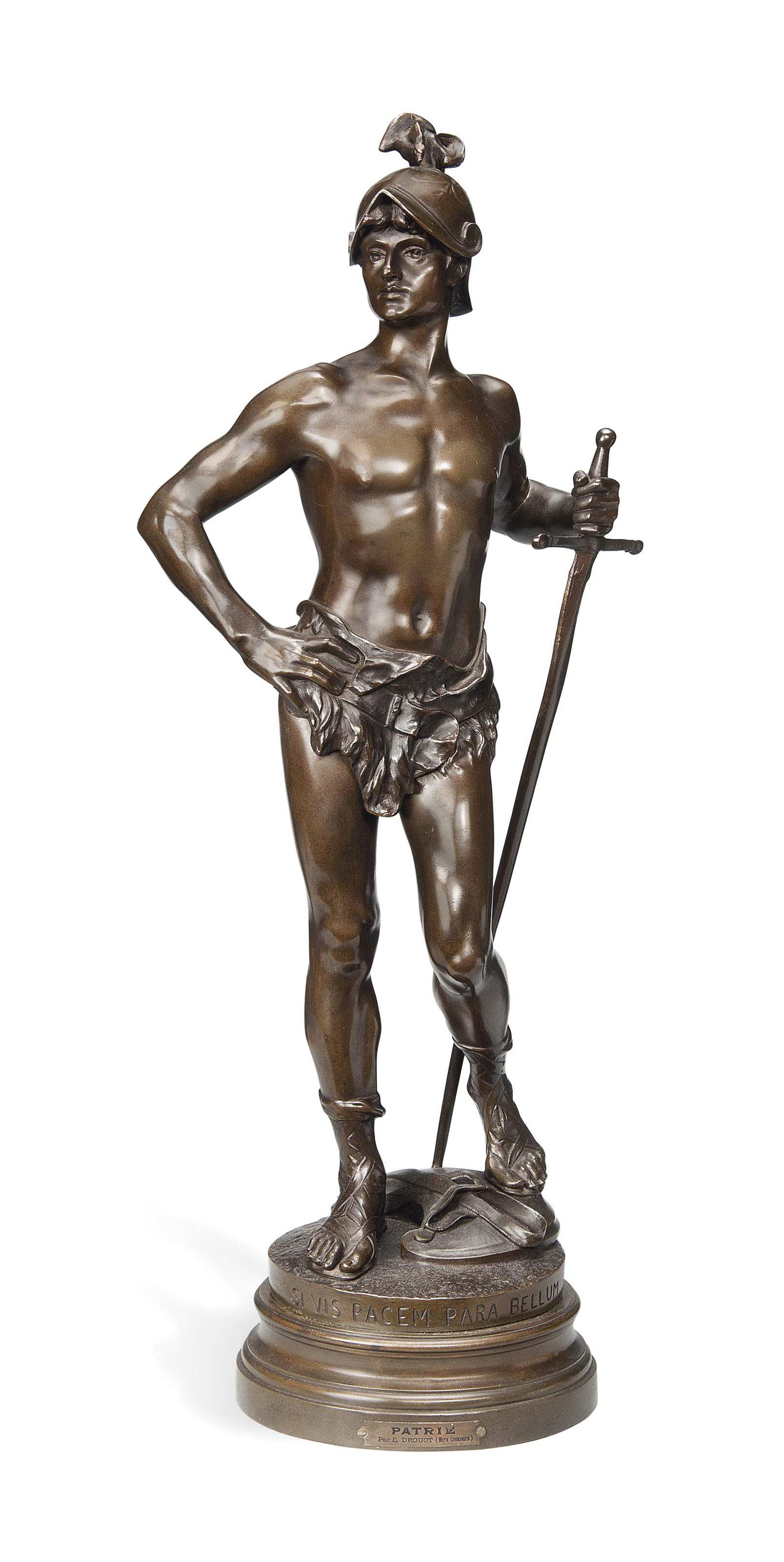 A FRENCH BRONZE FIGURE OF A CLASSICAL GLADIATOR