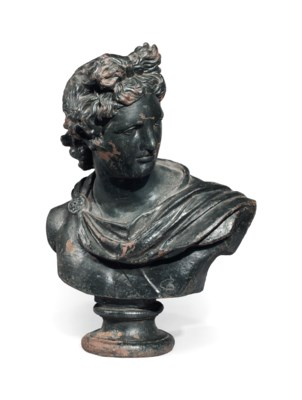 A GREEN-PAINTED CAST-IRON BUST