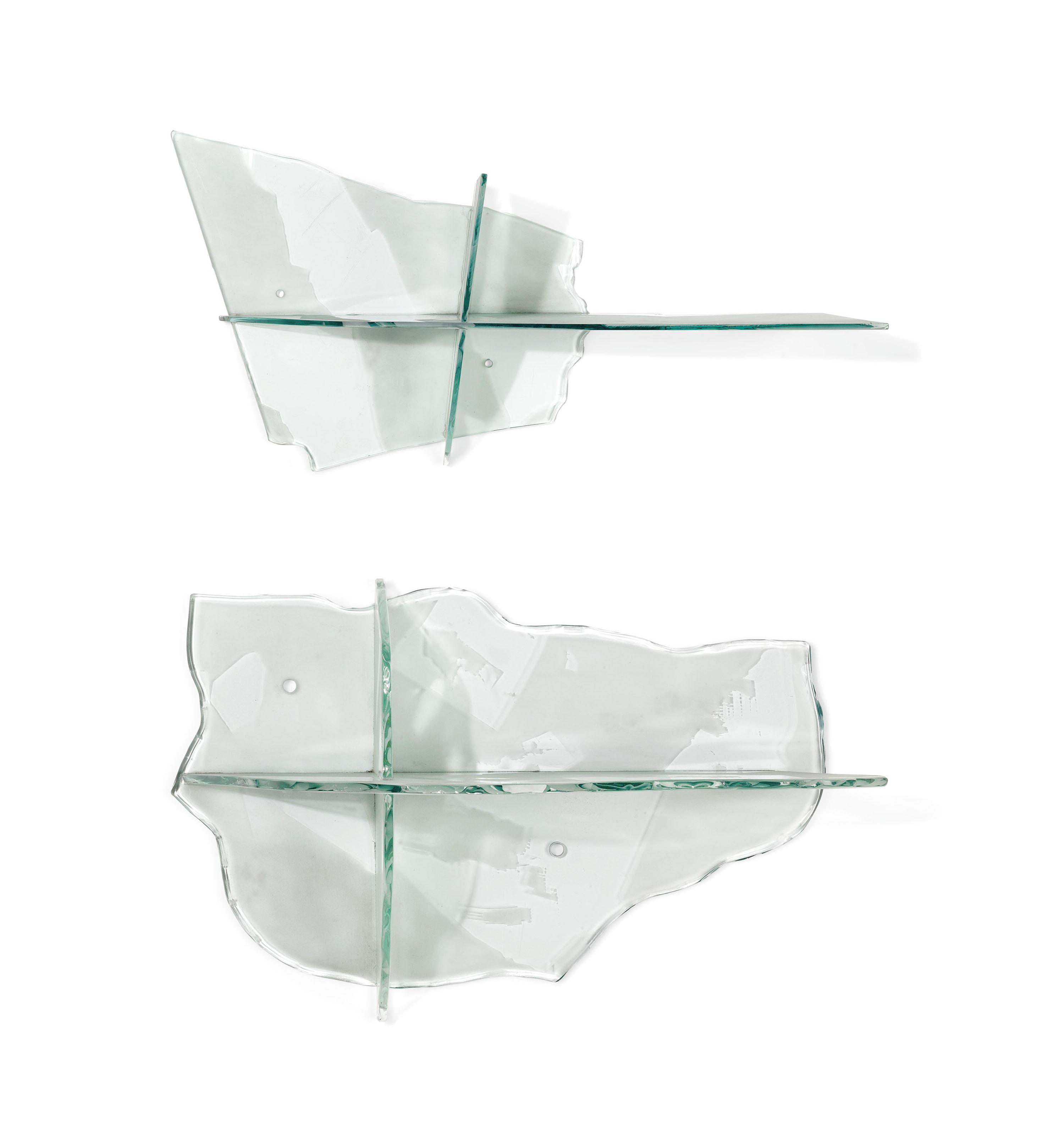 A SET OF THREE DANNY LANE (B.1955) GLASS SHELVES