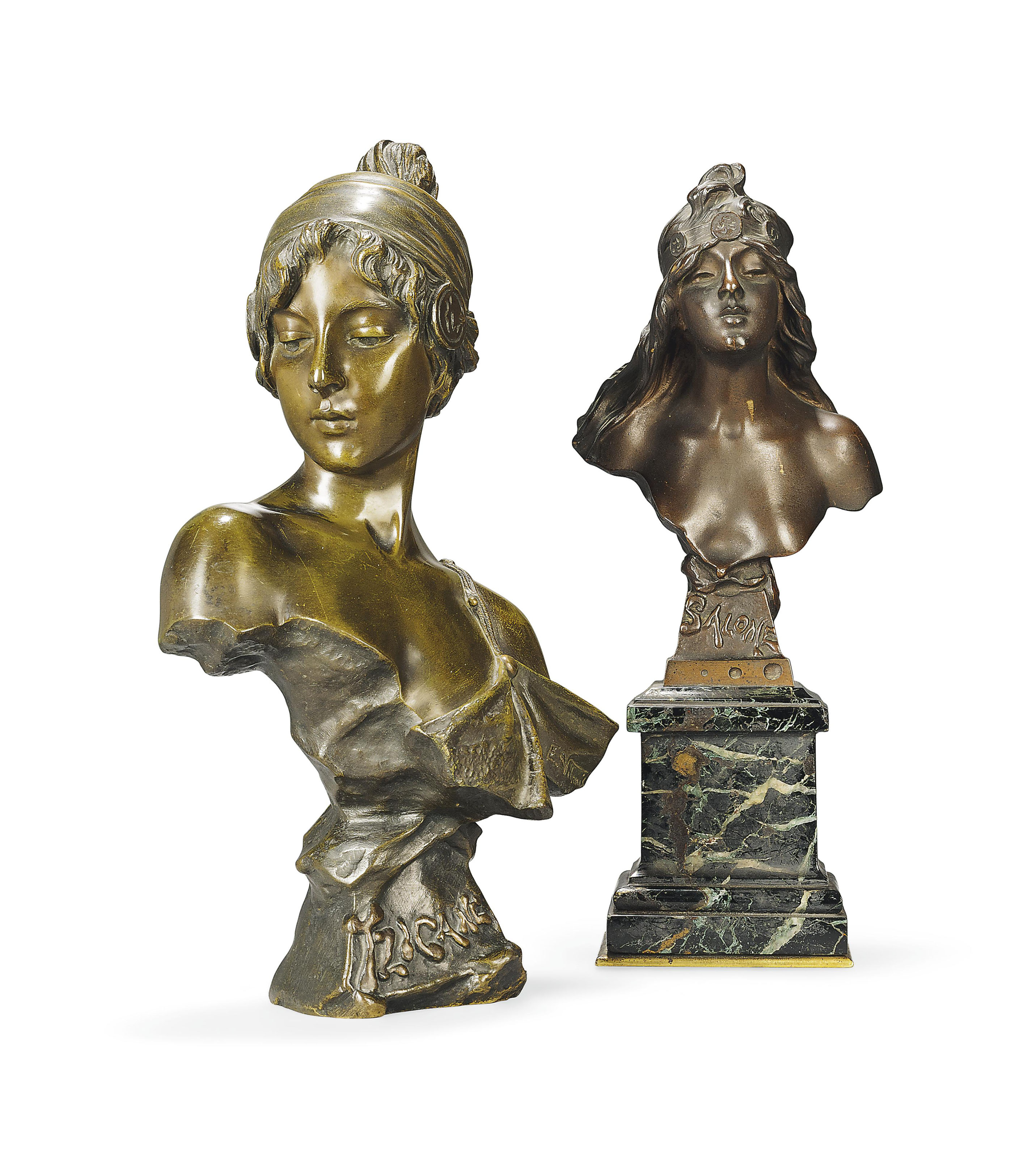 'TZIGANE' AN EMMANUEL VILLANIS (1858-1914) PATINATED BRONZE BUST