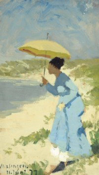 A lady on the beach under a parasol
