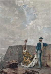 A courtier attending to a princess on the castle walls