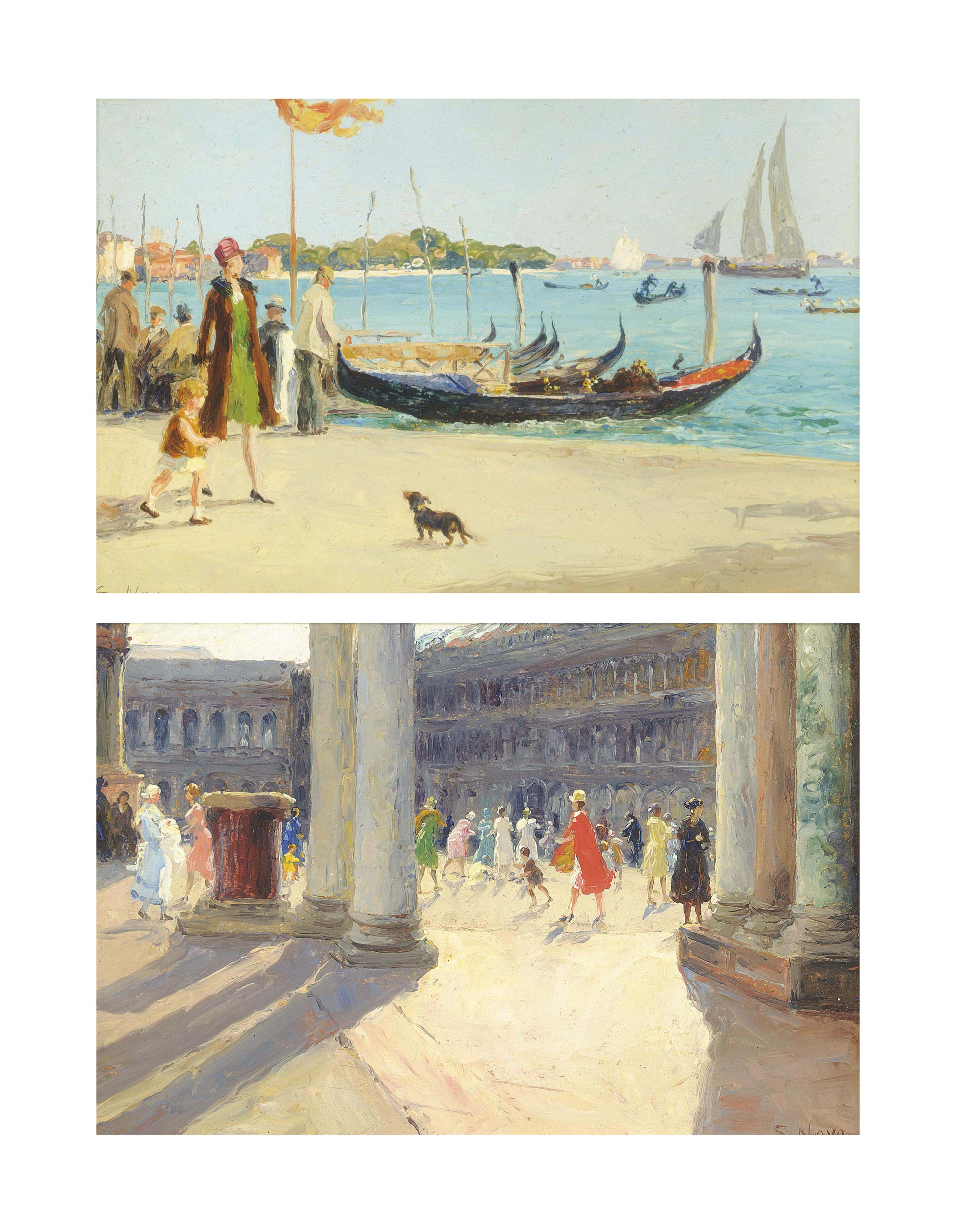 Figures in the Piazza San Marco, Venice; and A stroll by the gondolas
