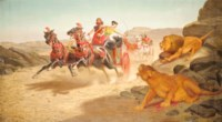 Ashurbanipal and Assur-Sharratt at a Lion hunt
